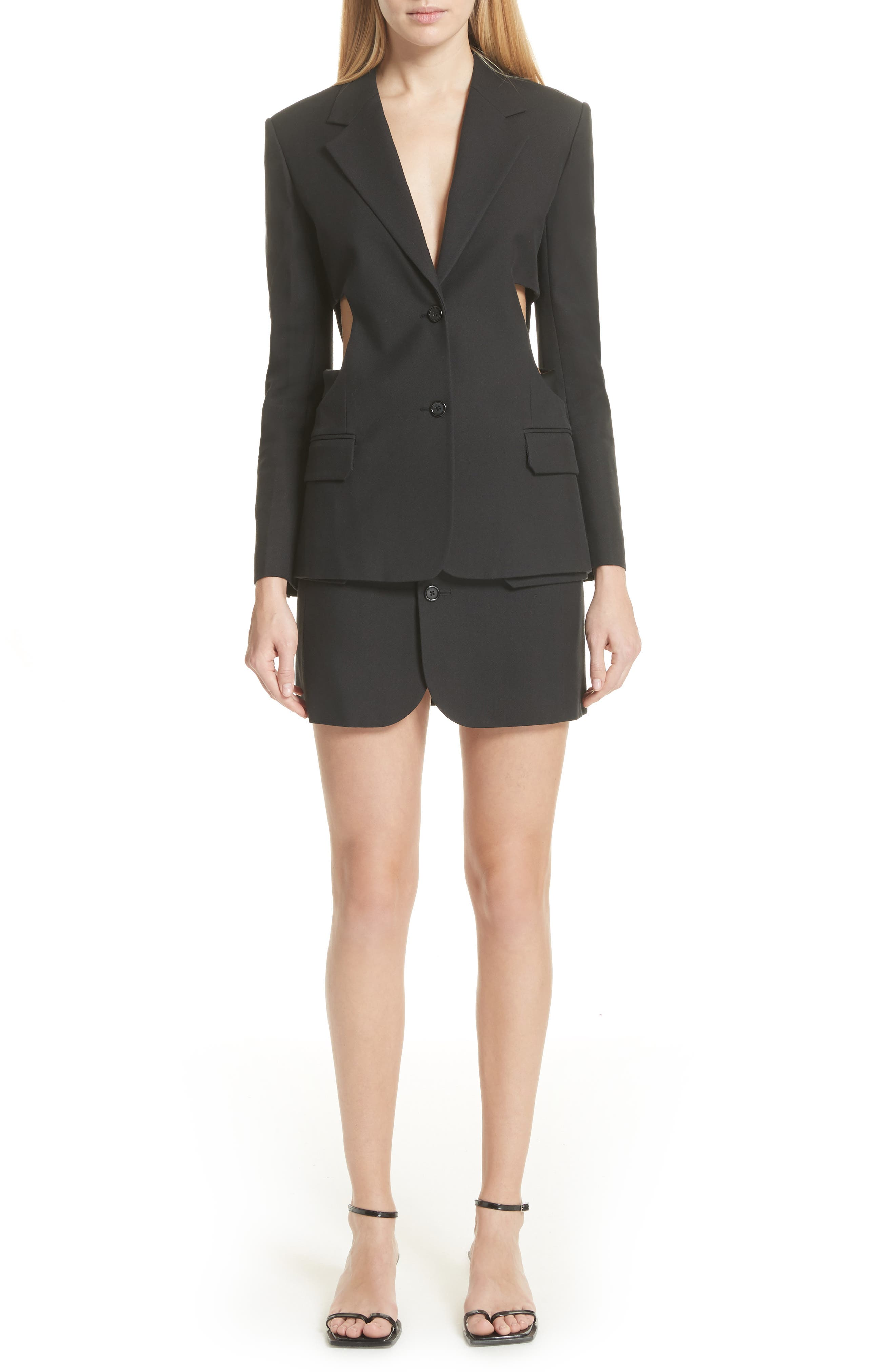 HELMUT LANG,                             Cutout Waist Blazer,                             Alternate thumbnail 7, color,                             001