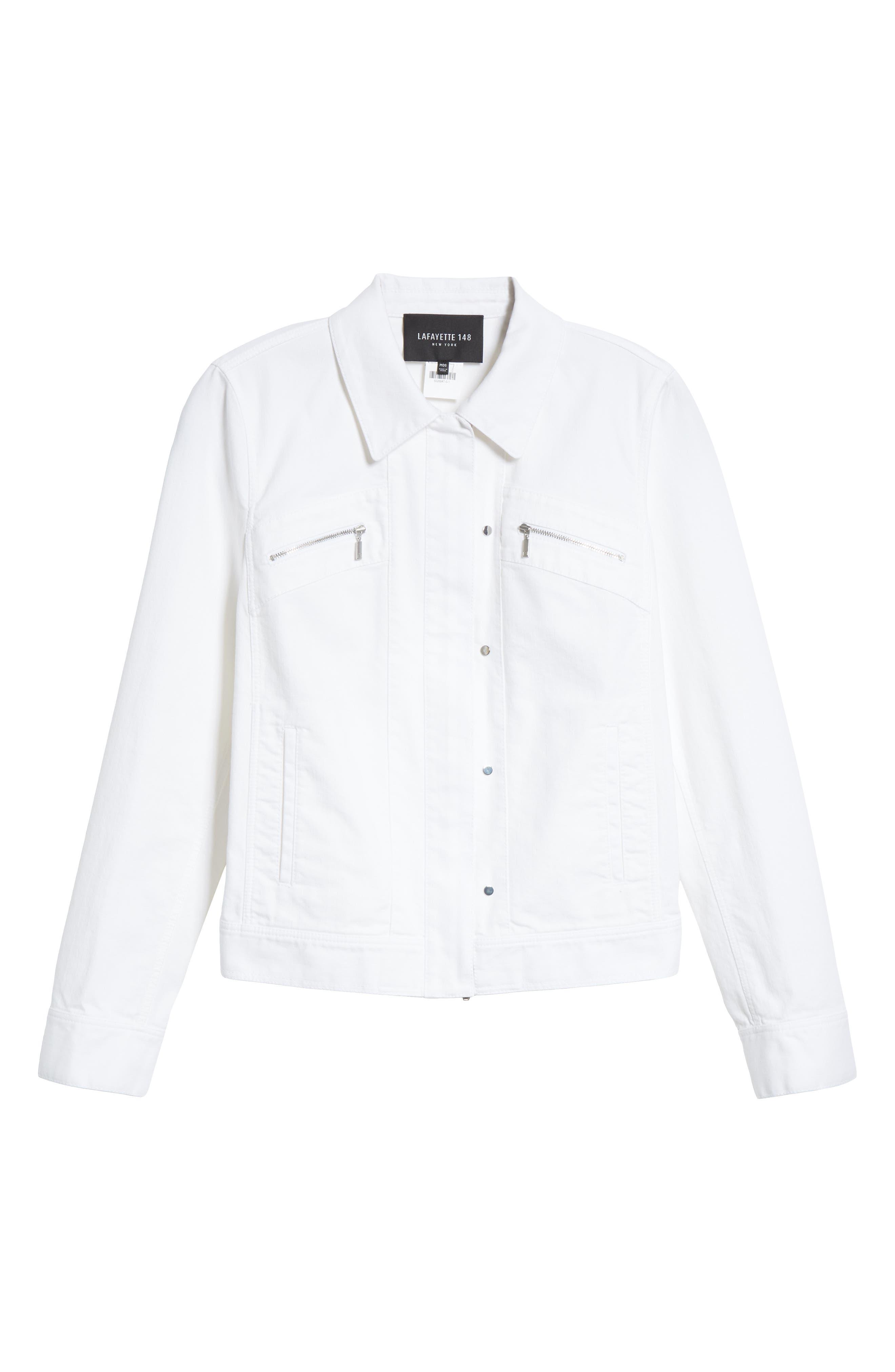 Kesha Denim Jacket,                             Alternate thumbnail 6, color,                             WHITE