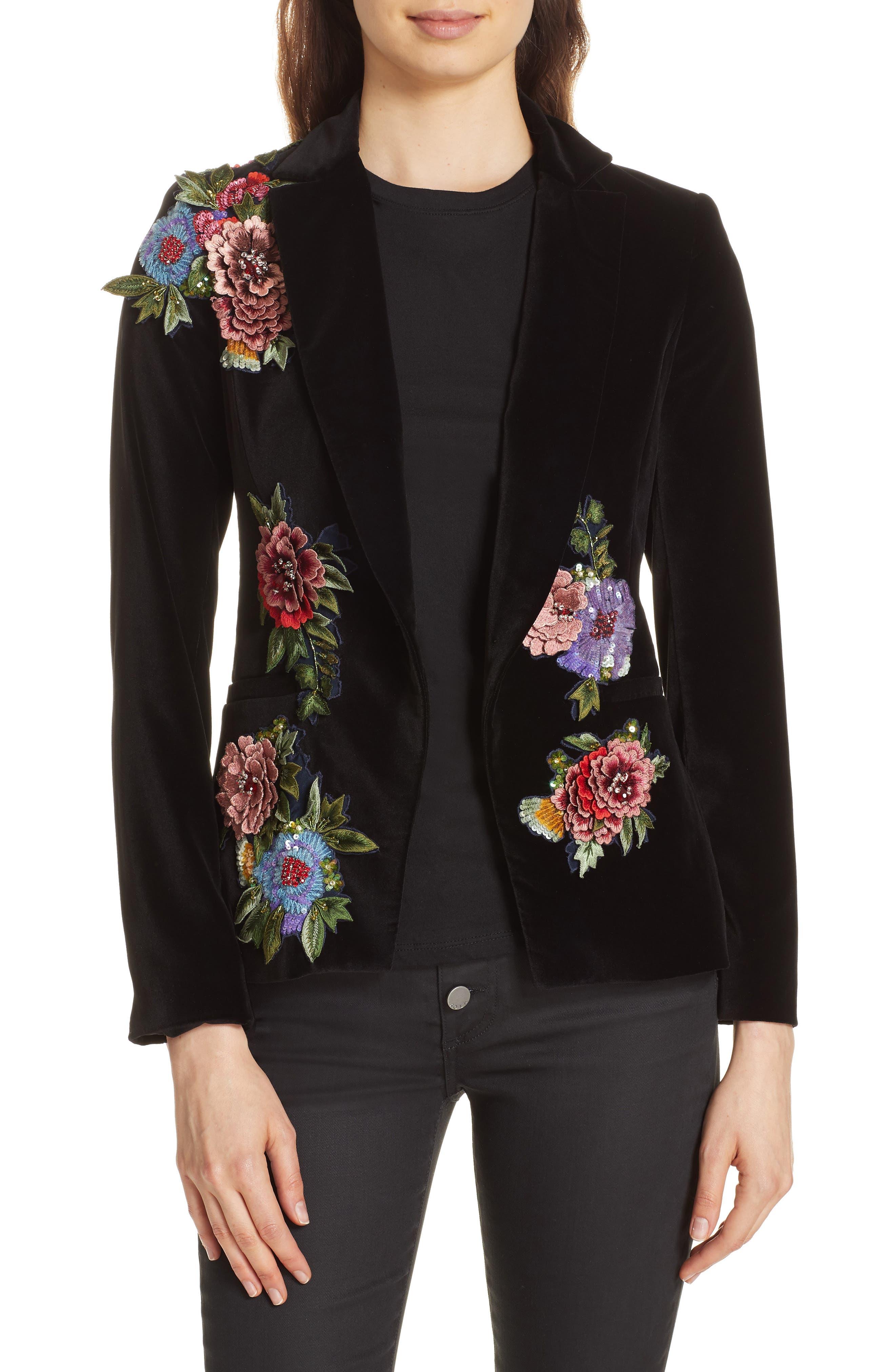 Hix Embellished Velvet Blazer,                         Main,                         color, BLACK