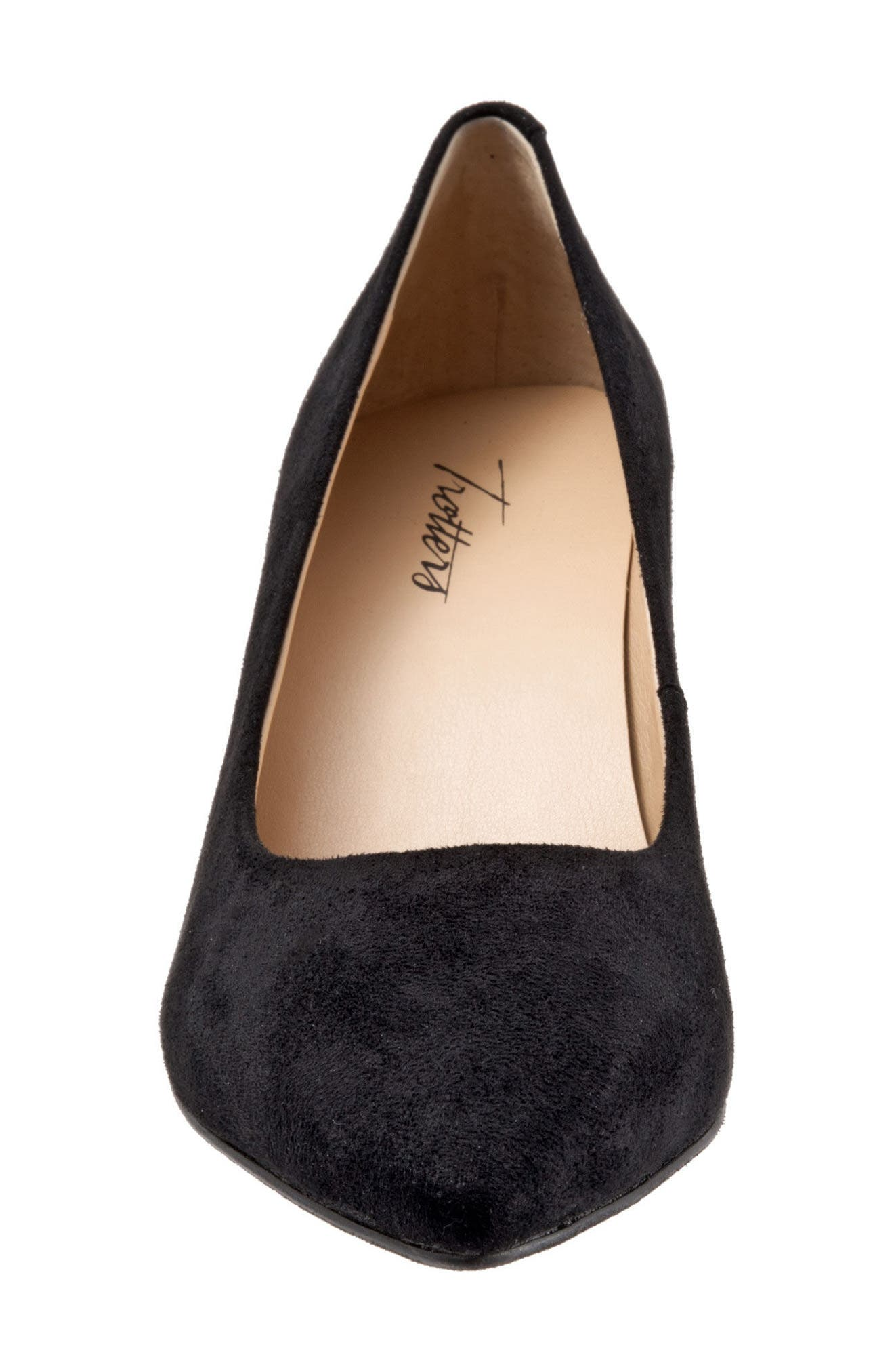 Noelle Pointy Toe Pump,                             Alternate thumbnail 4, color,                             BLACK FABRIC