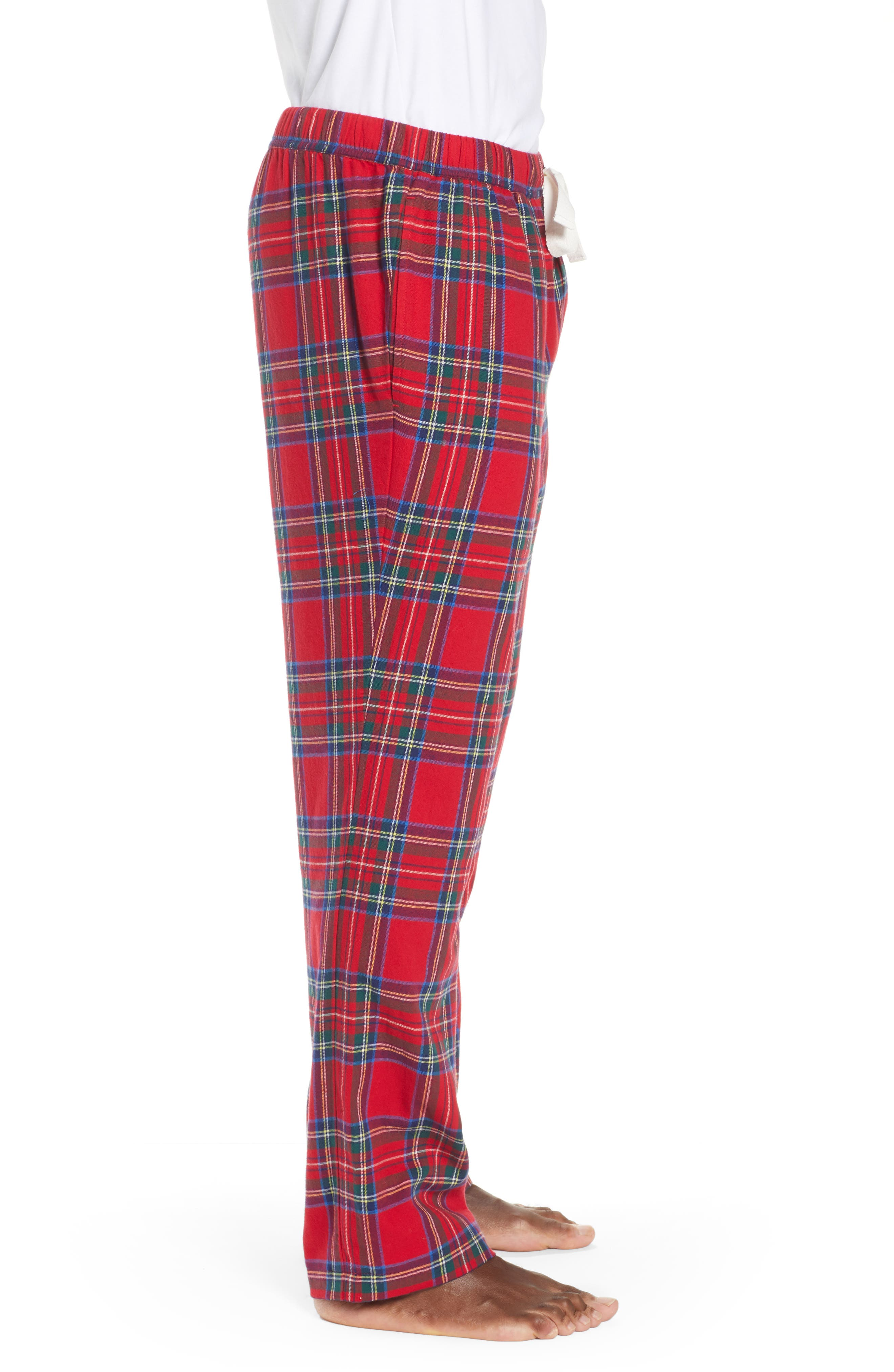 Jolly Plaid Cotton Flannel Pajama Pants,                             Alternate thumbnail 3, color,                             786