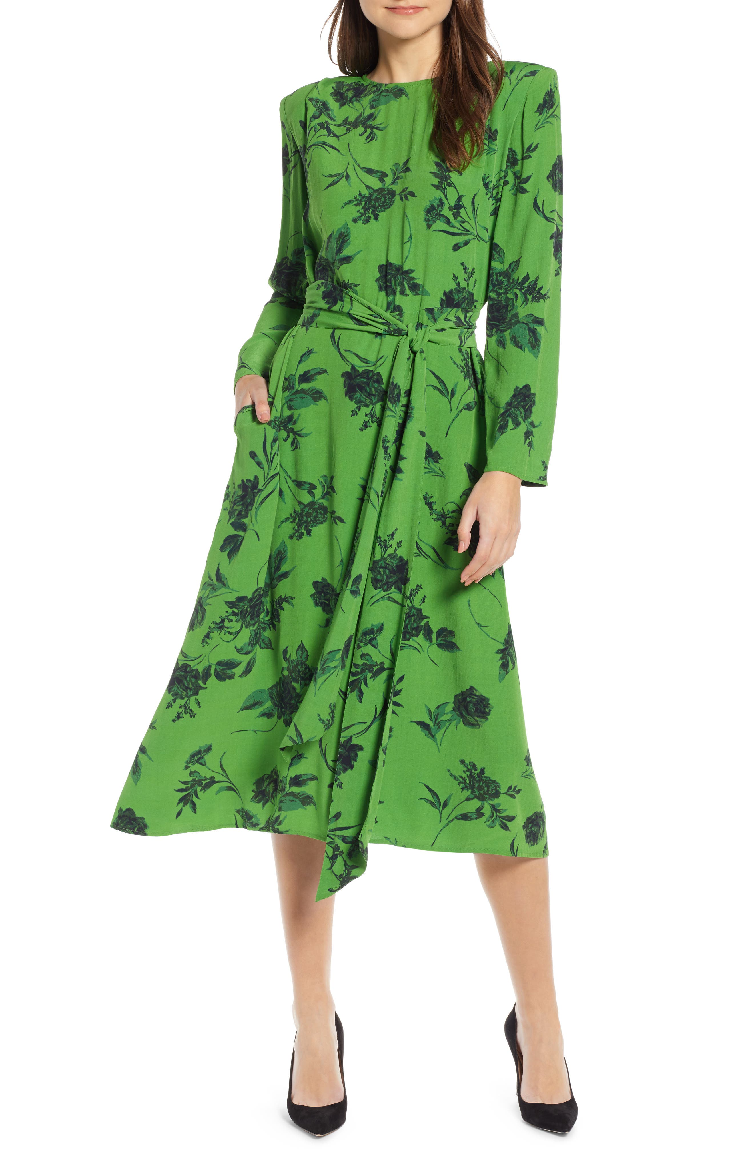 Belted Midi Dress,                         Main,                         color, GREEN ENERGY TONAL FLORAL