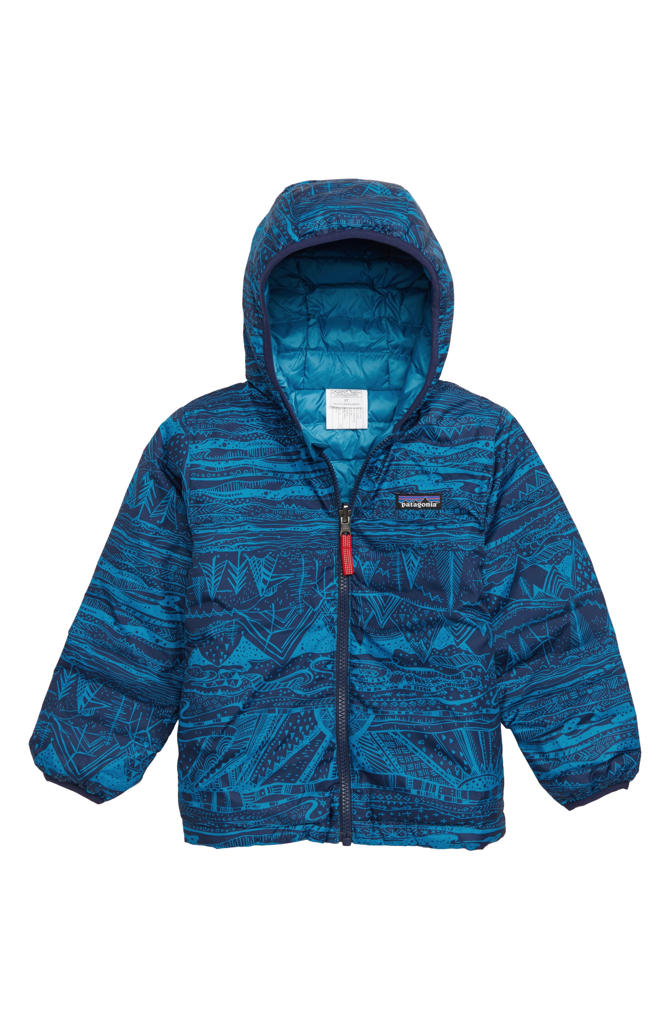 Reversible Down Sweater Hoodie,                             Main thumbnail 1, color,                             ALBB ALBANIAN: BALKAN BLUE