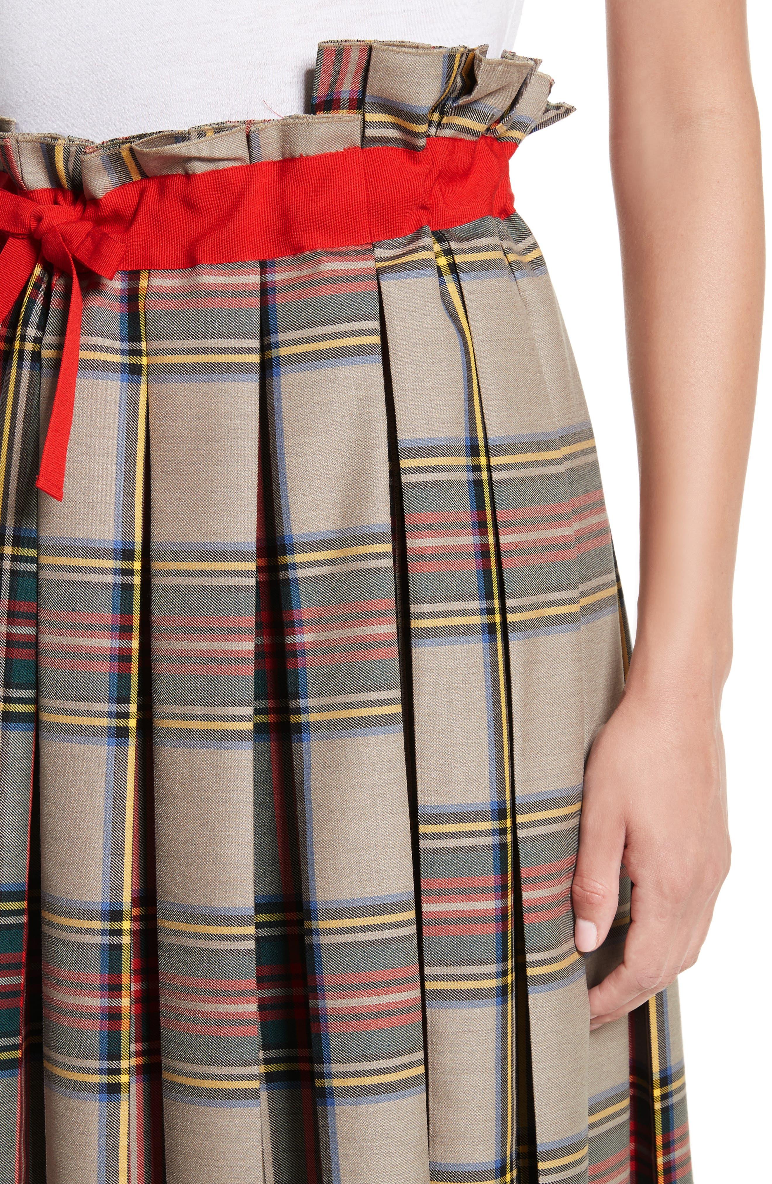 Pleated Technical Gabardine Skirt,                             Alternate thumbnail 4, color,                             250