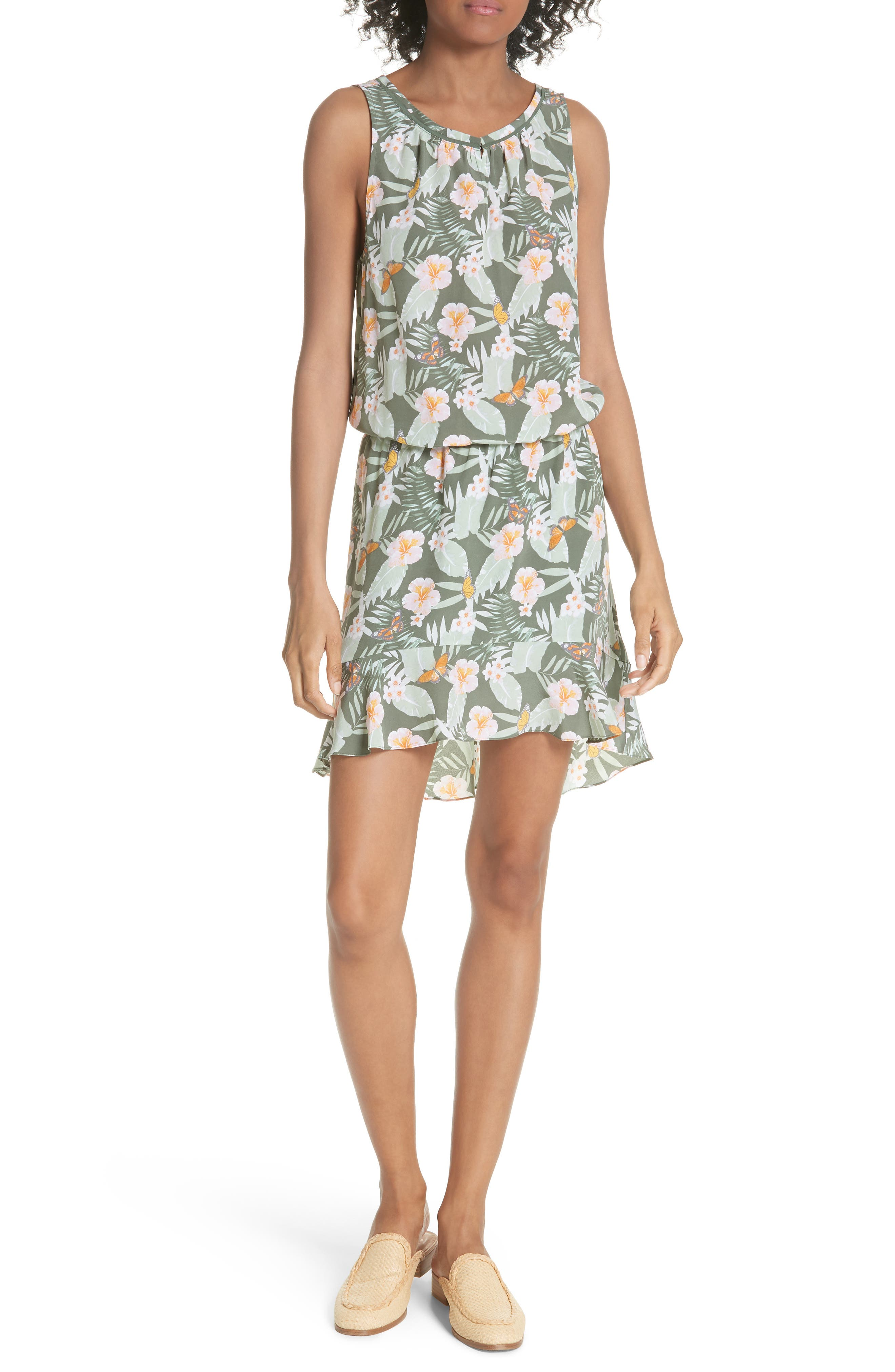 JOIE Jayne High/Low Silk Dress, Main, color, 330