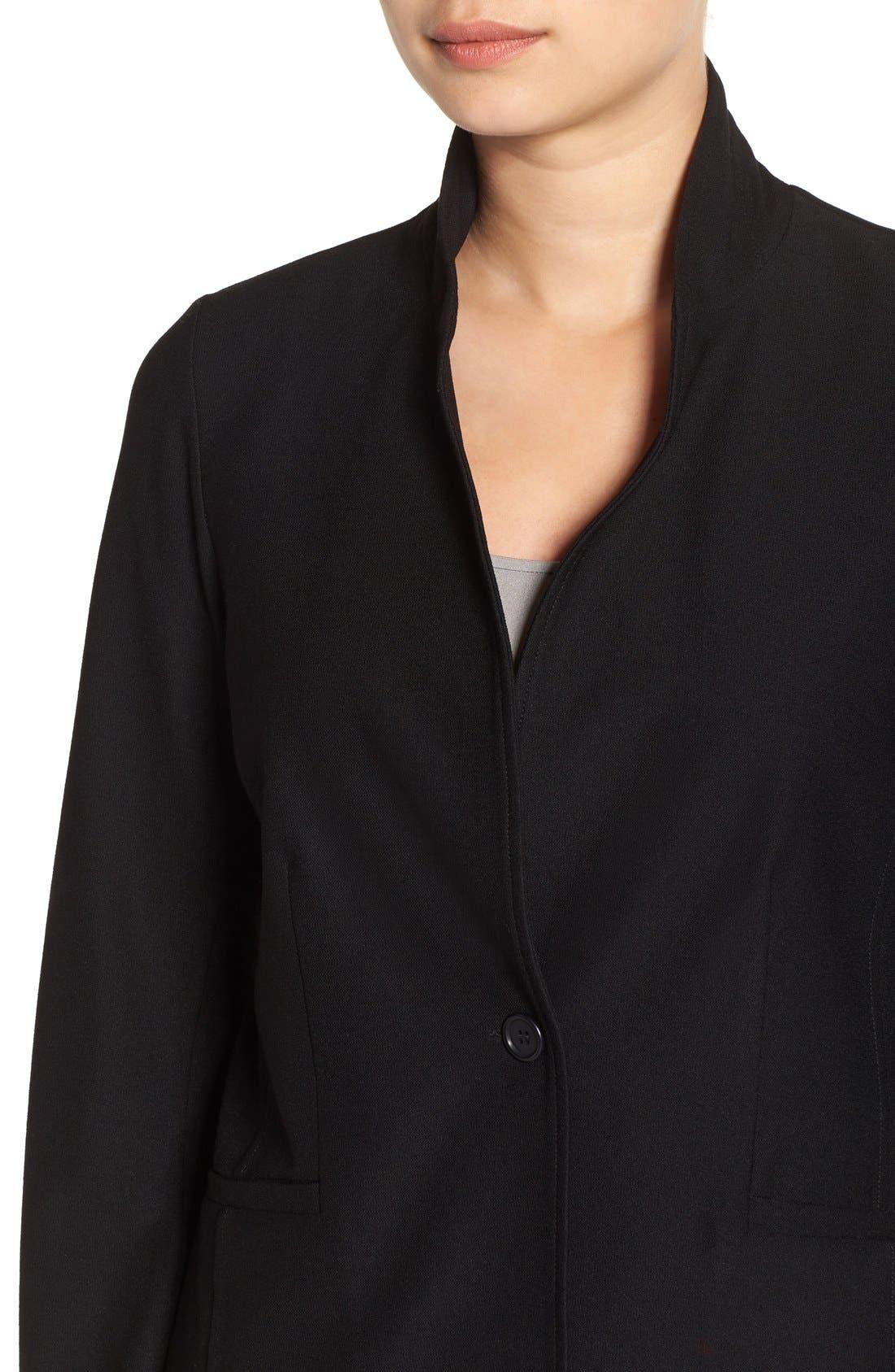 Washable Stretch Crepe Jacket,                             Alternate thumbnail 5, color,                             BLACK