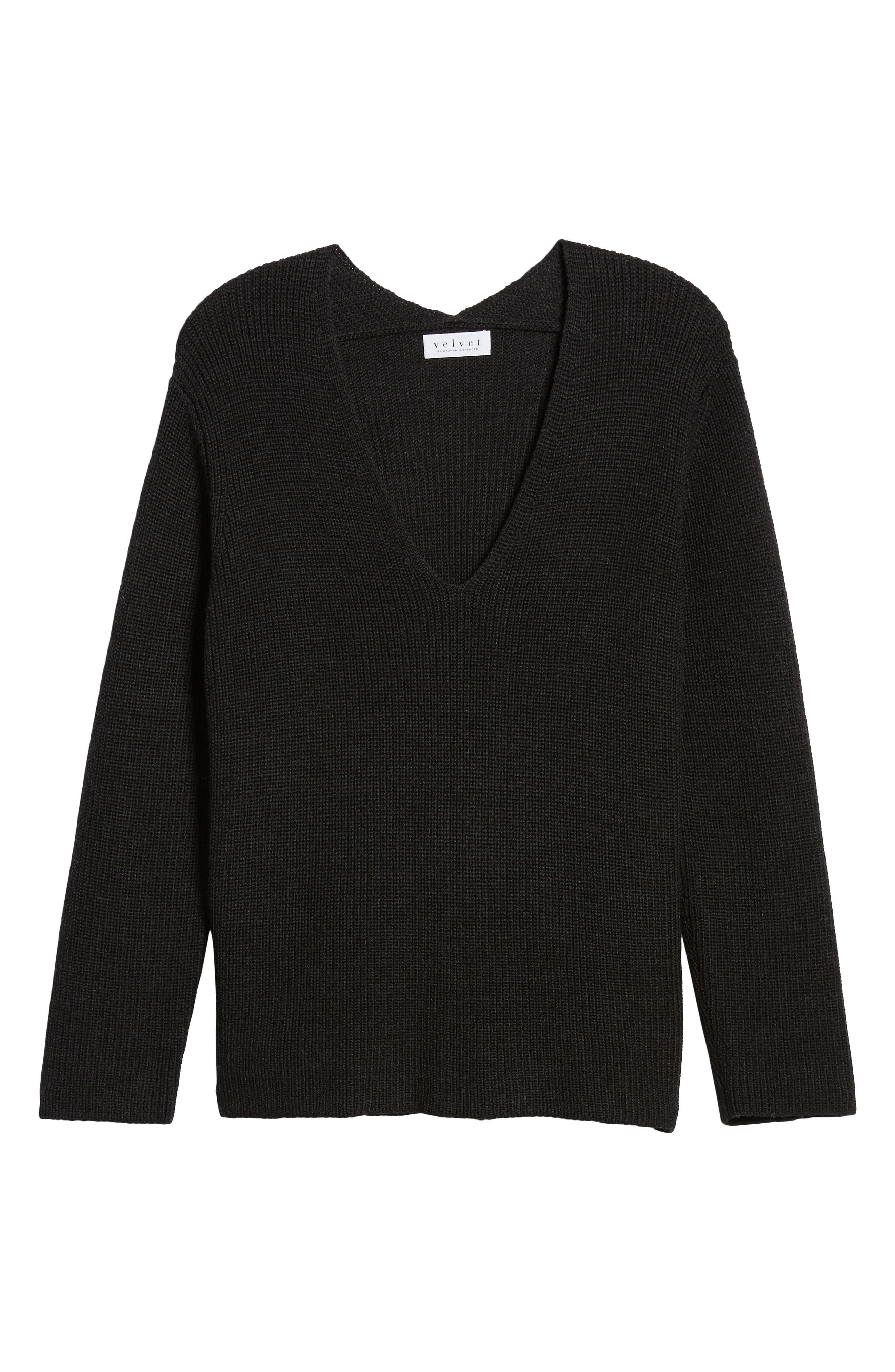 V-Neck Sweater,                             Alternate thumbnail 6, color,                             COAL