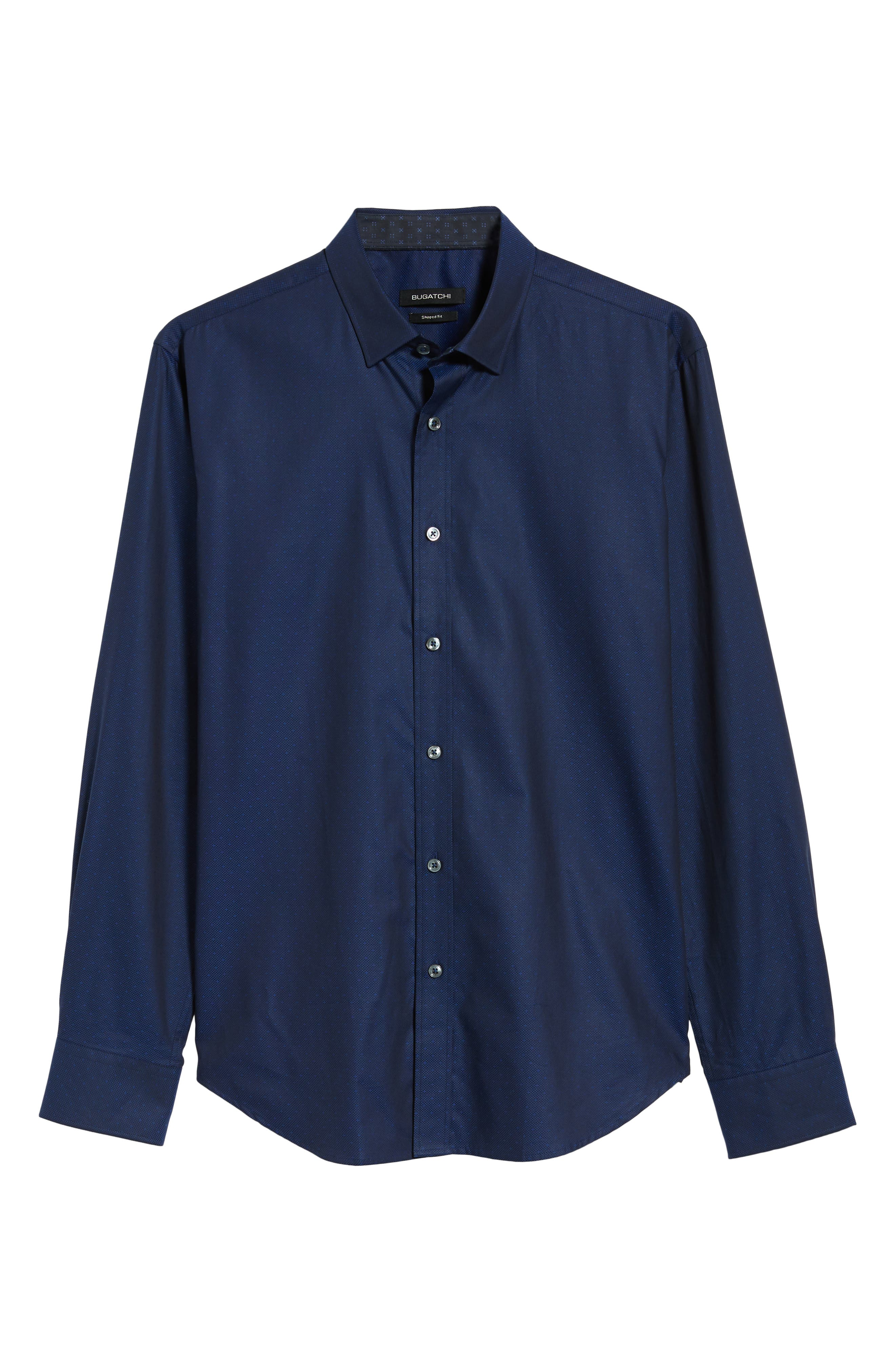 Shaped Fit Sport Shirt,                             Alternate thumbnail 5, color,                             MIDNIGHT