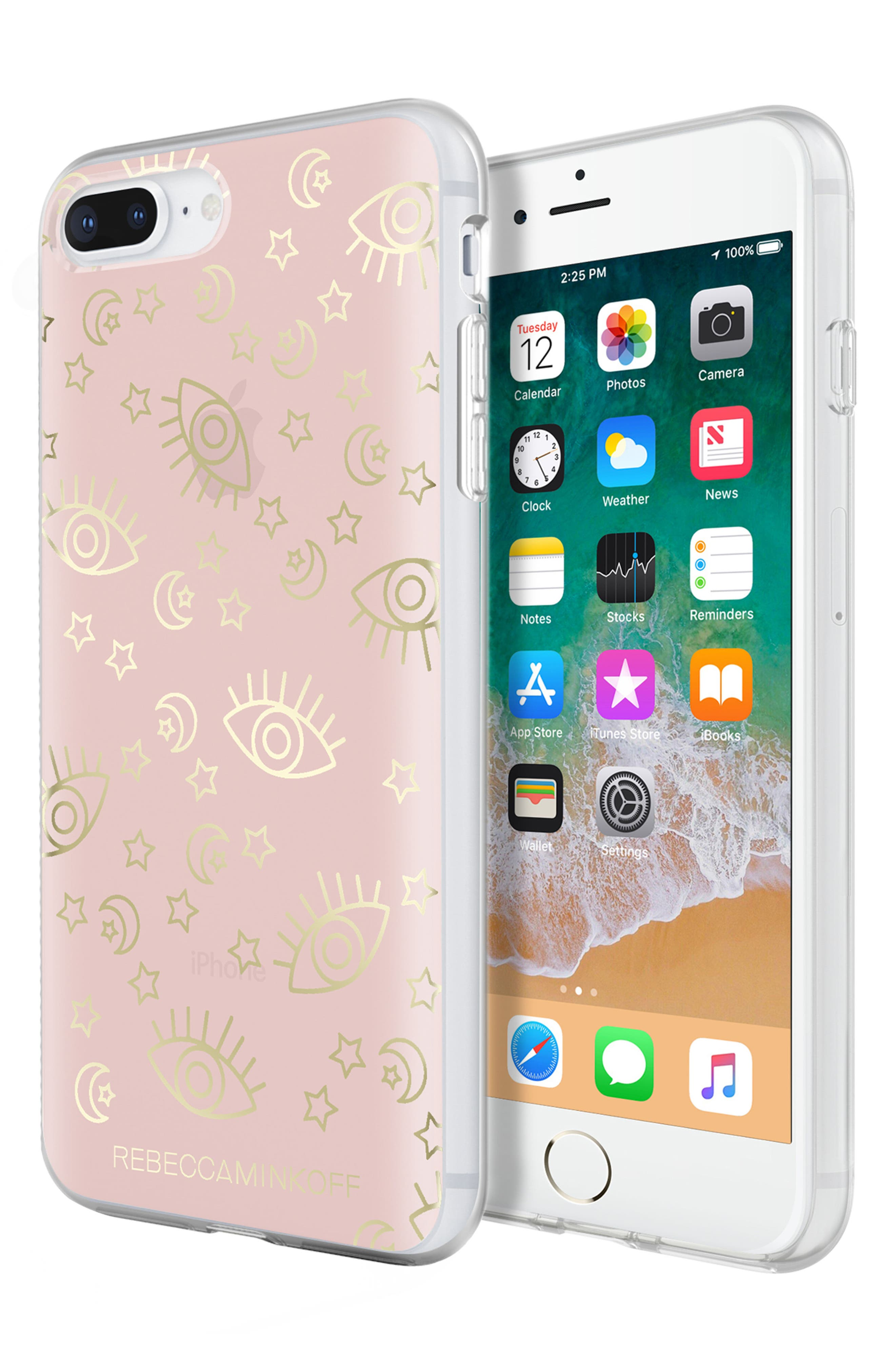 Metallic Galaxy Icon iPhone 7/8 & 7/8 Plus Case,                             Alternate thumbnail 6, color,                             ROSE GOLD/ GOLD FOIL