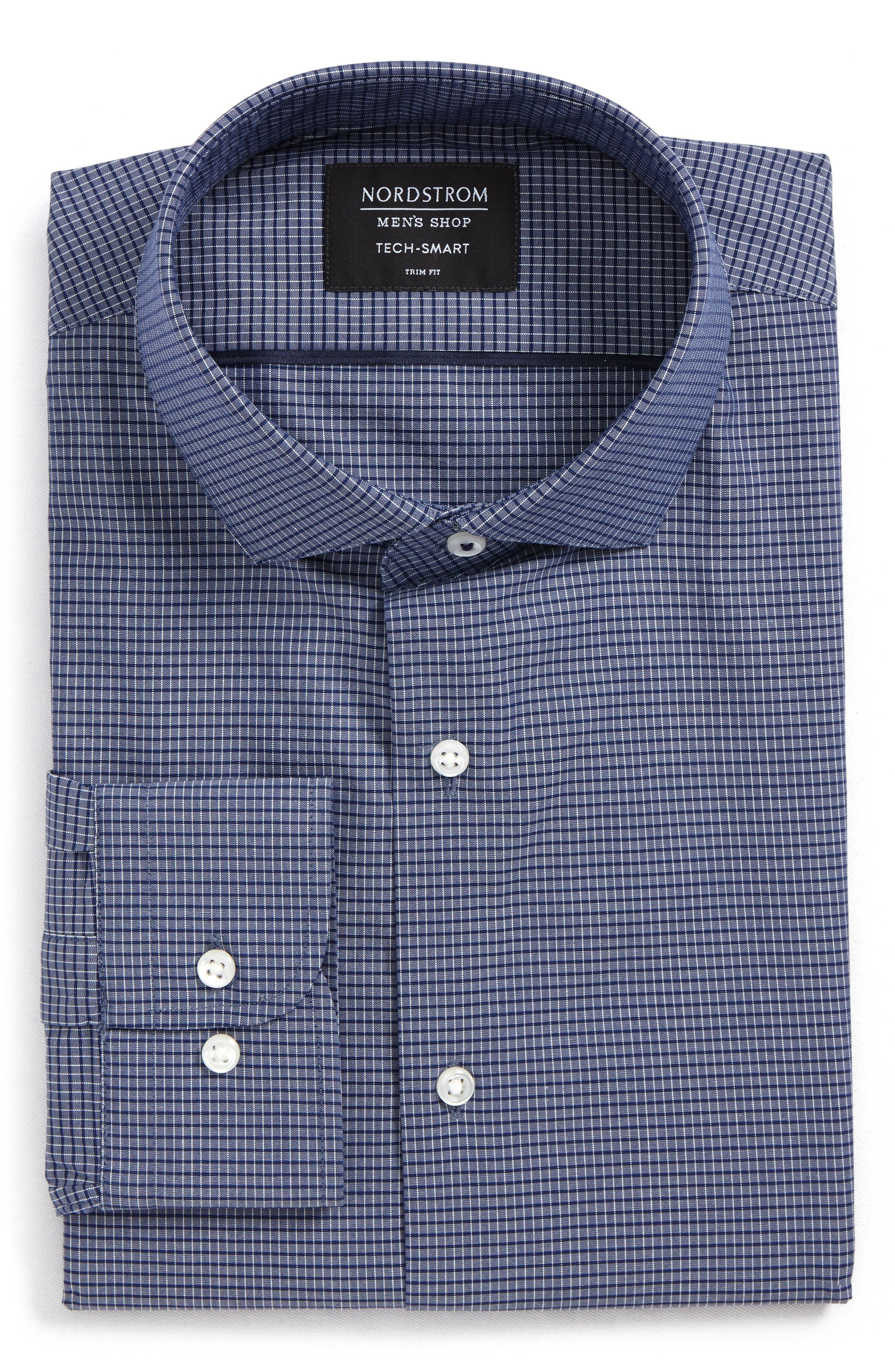 Tech-Smart Trim Fit Stretch Check Dress Shirt,                             Alternate thumbnail 5, color,                             410