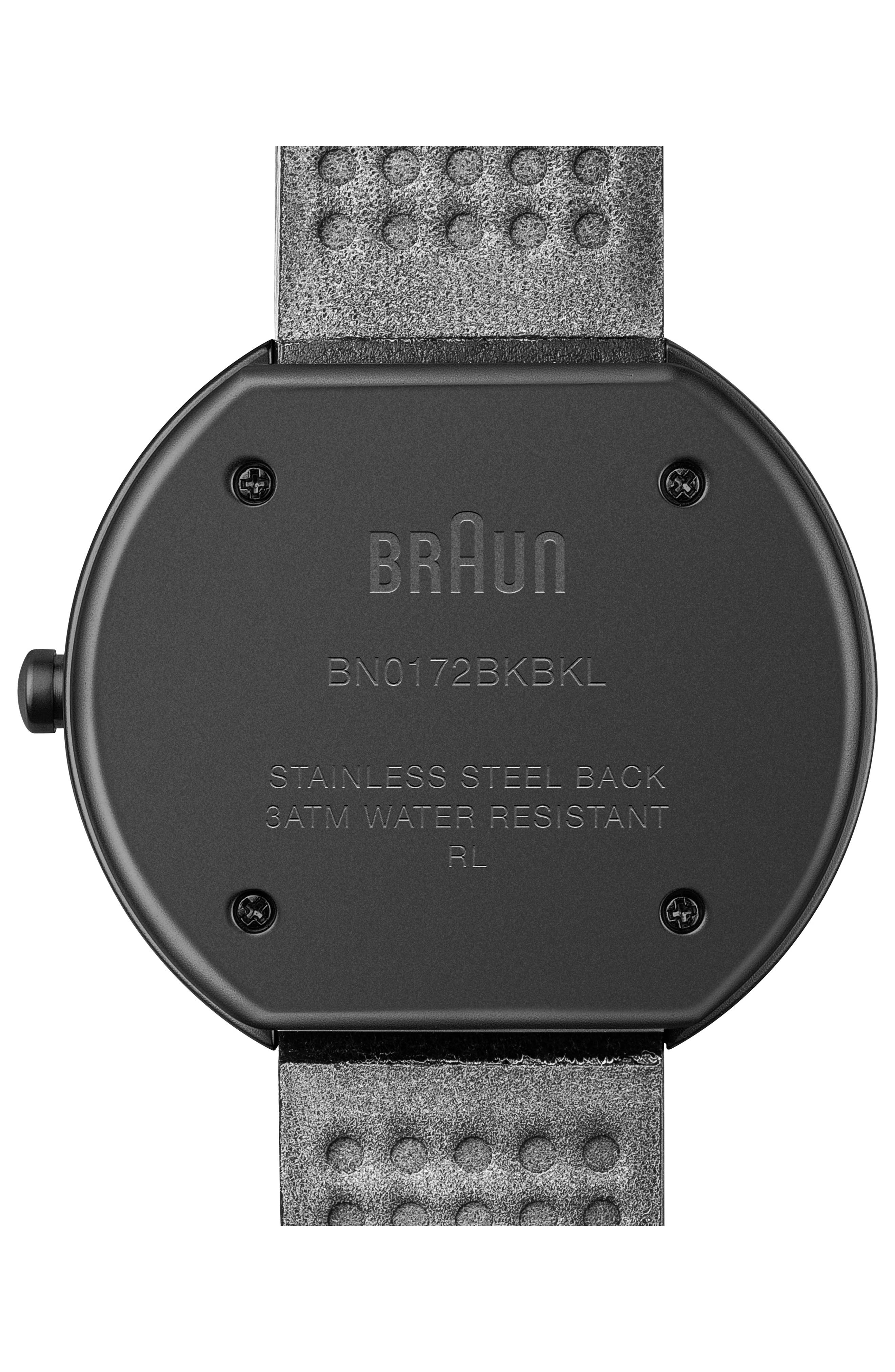 BRAUN Classic Leather Strap Watch, 38Mm in Black