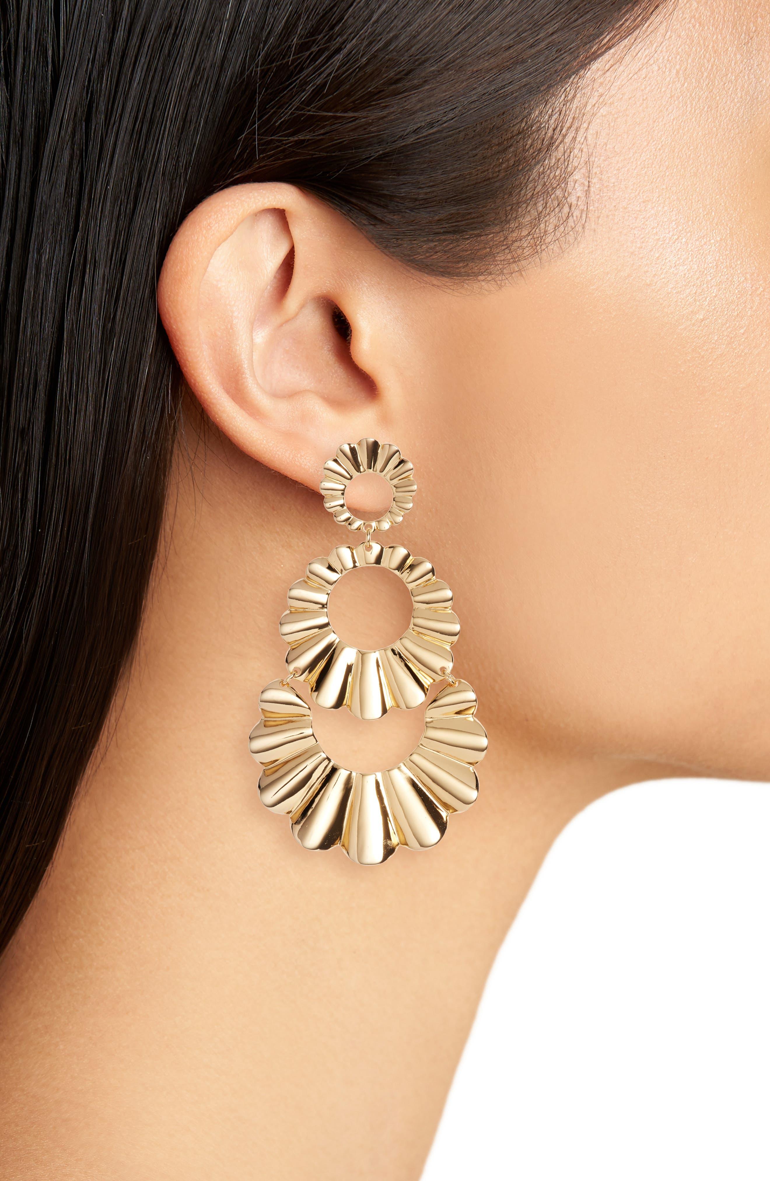 scrunch scallops triple drop earrings,                             Alternate thumbnail 2, color,                             GOLD