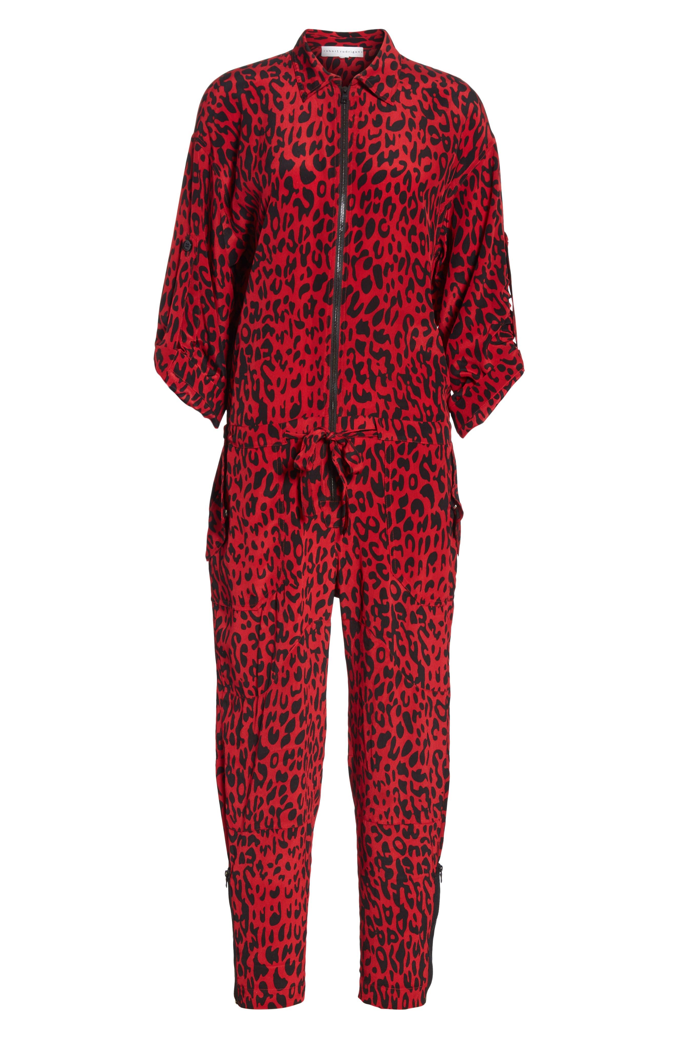 Leopard Print Crop Jumpsuit,                             Alternate thumbnail 6, color,                             600