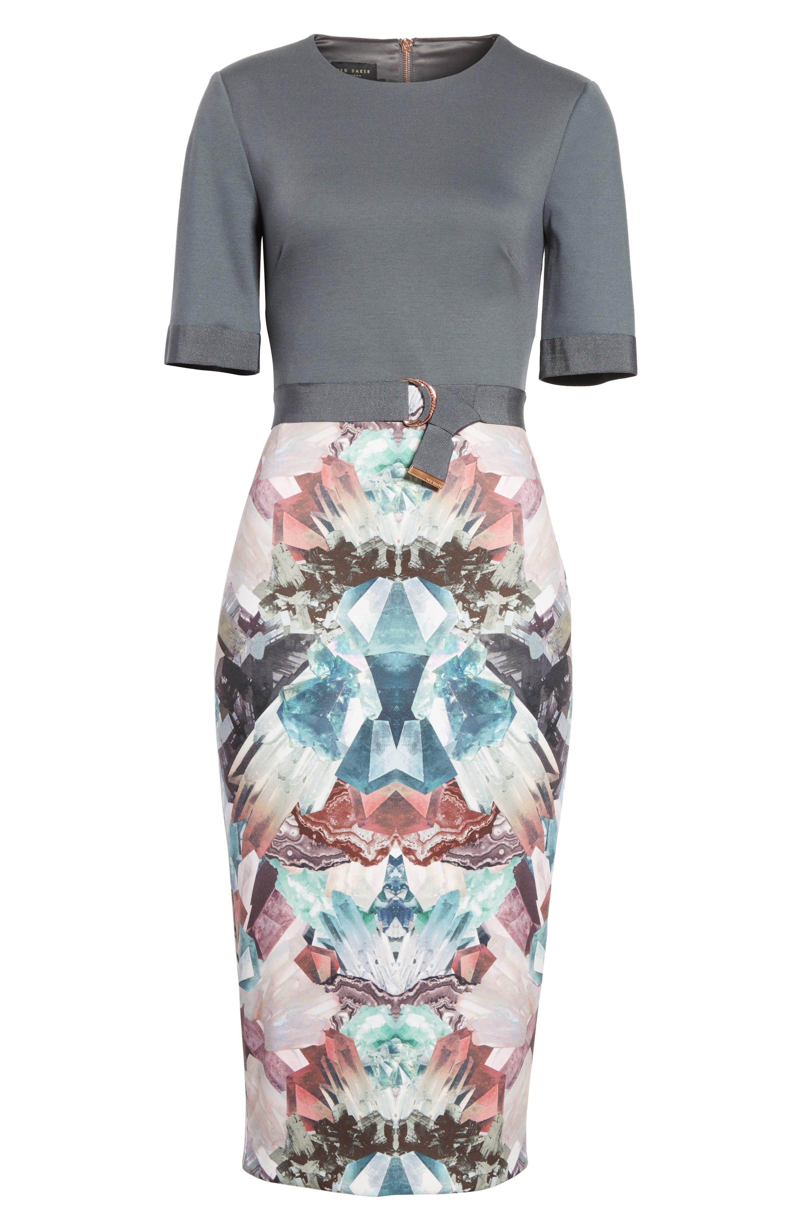 Anaste Mirror Minerals Print Dress,                             Alternate thumbnail 6, color,                             021