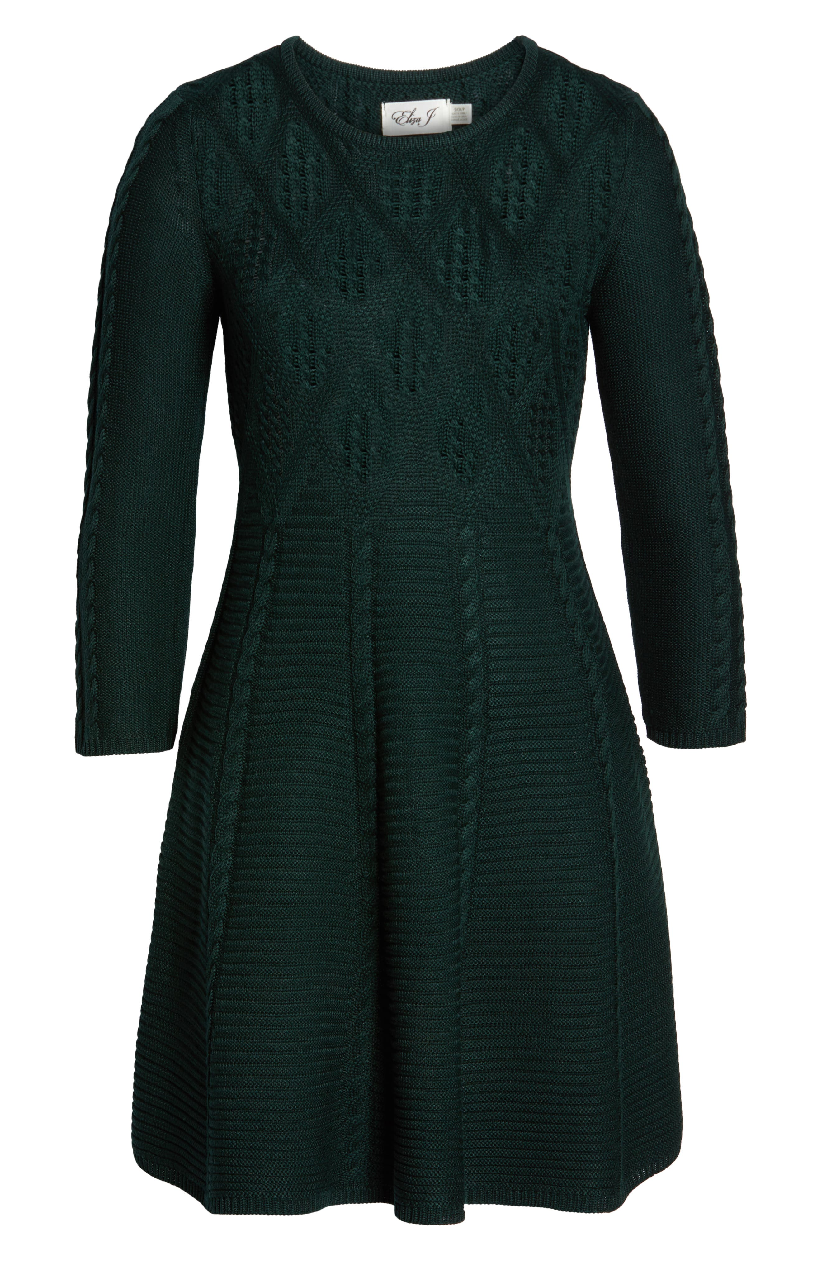 Cable Fit & Flare Sweater Dress,                             Alternate thumbnail 7, color,                             GREEN