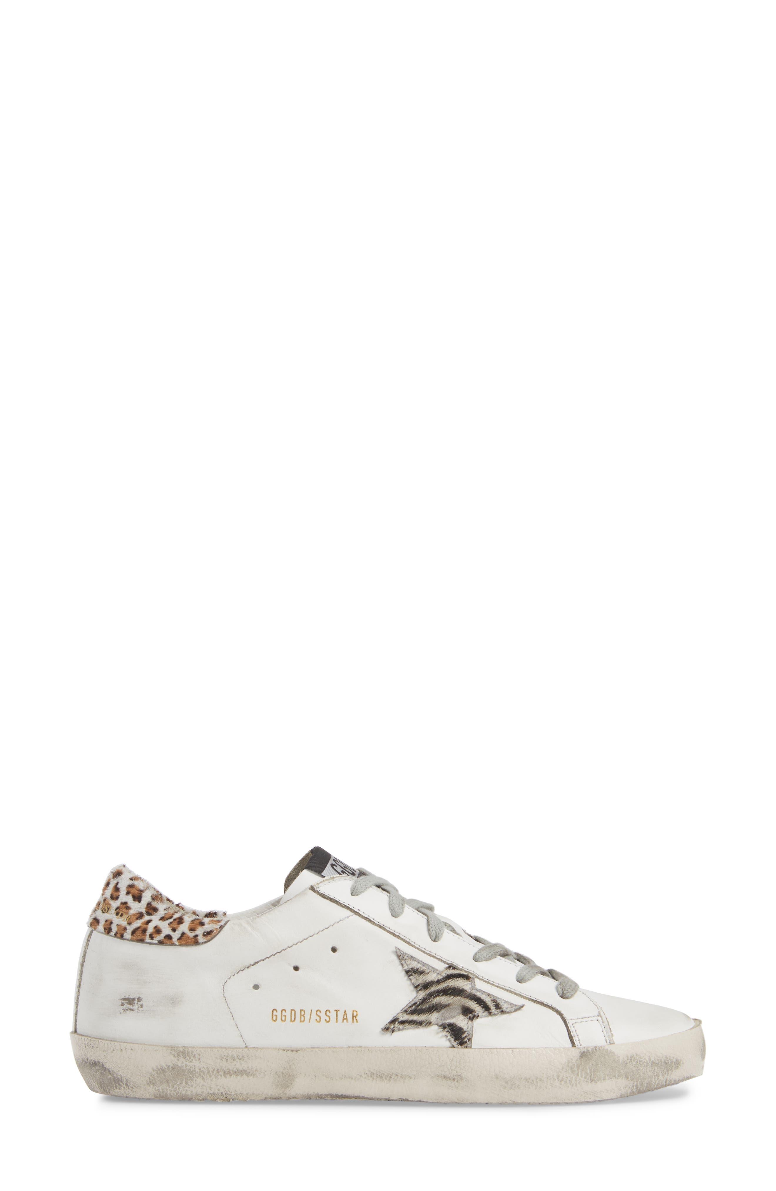 Superstar Genuine Calf Hair Sneaker,                             Alternate thumbnail 3, color,                             WHITE/ ZEBRA