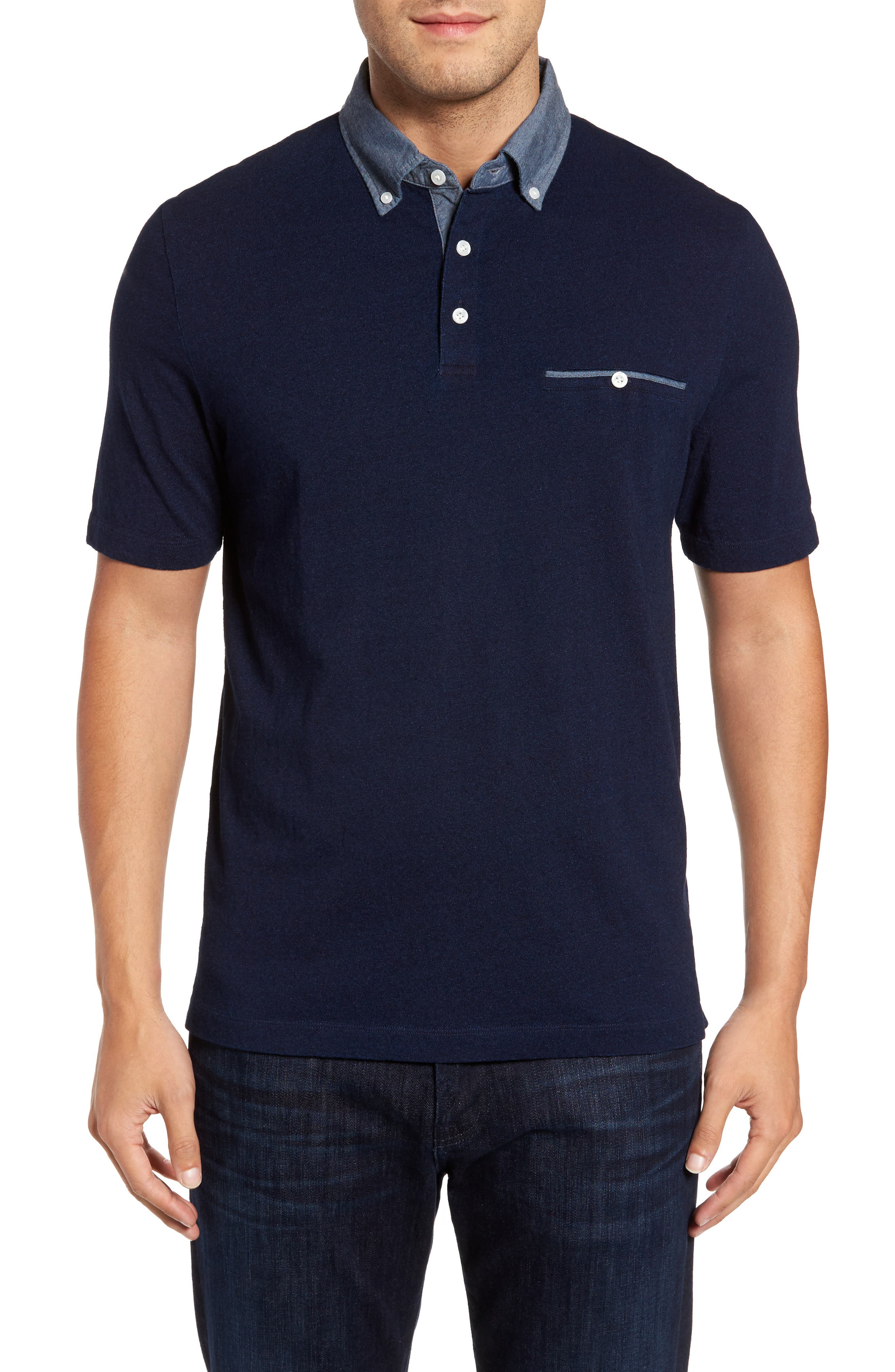 Denim Trim Jersey Polo,                         Main,                         color, 439