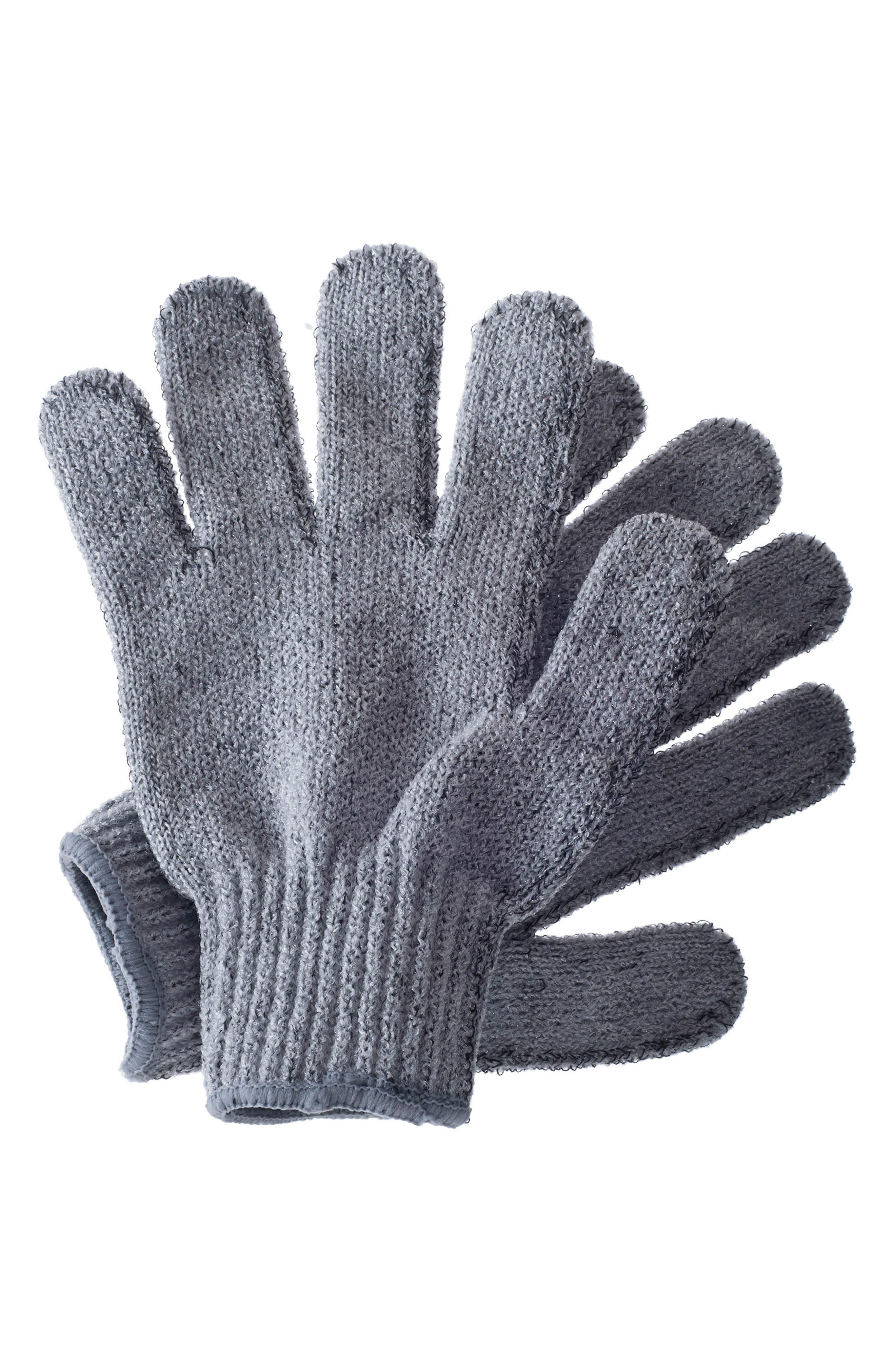 Carbonized Exfoliating Gloves,                             Main thumbnail 1, color,                             000