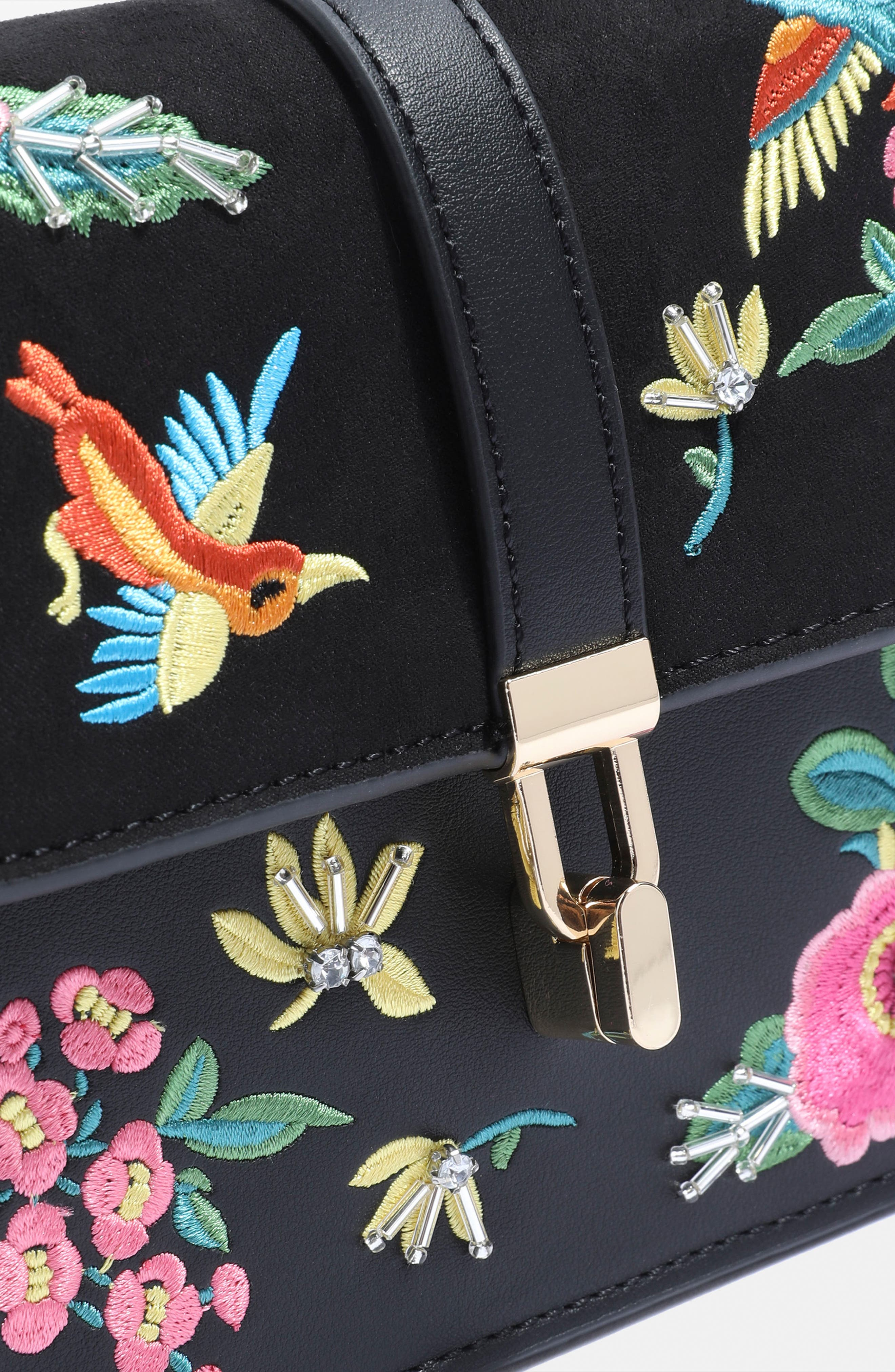 Hummingbird Embroidered Crossbody Bag,                             Alternate thumbnail 3, color,                             001