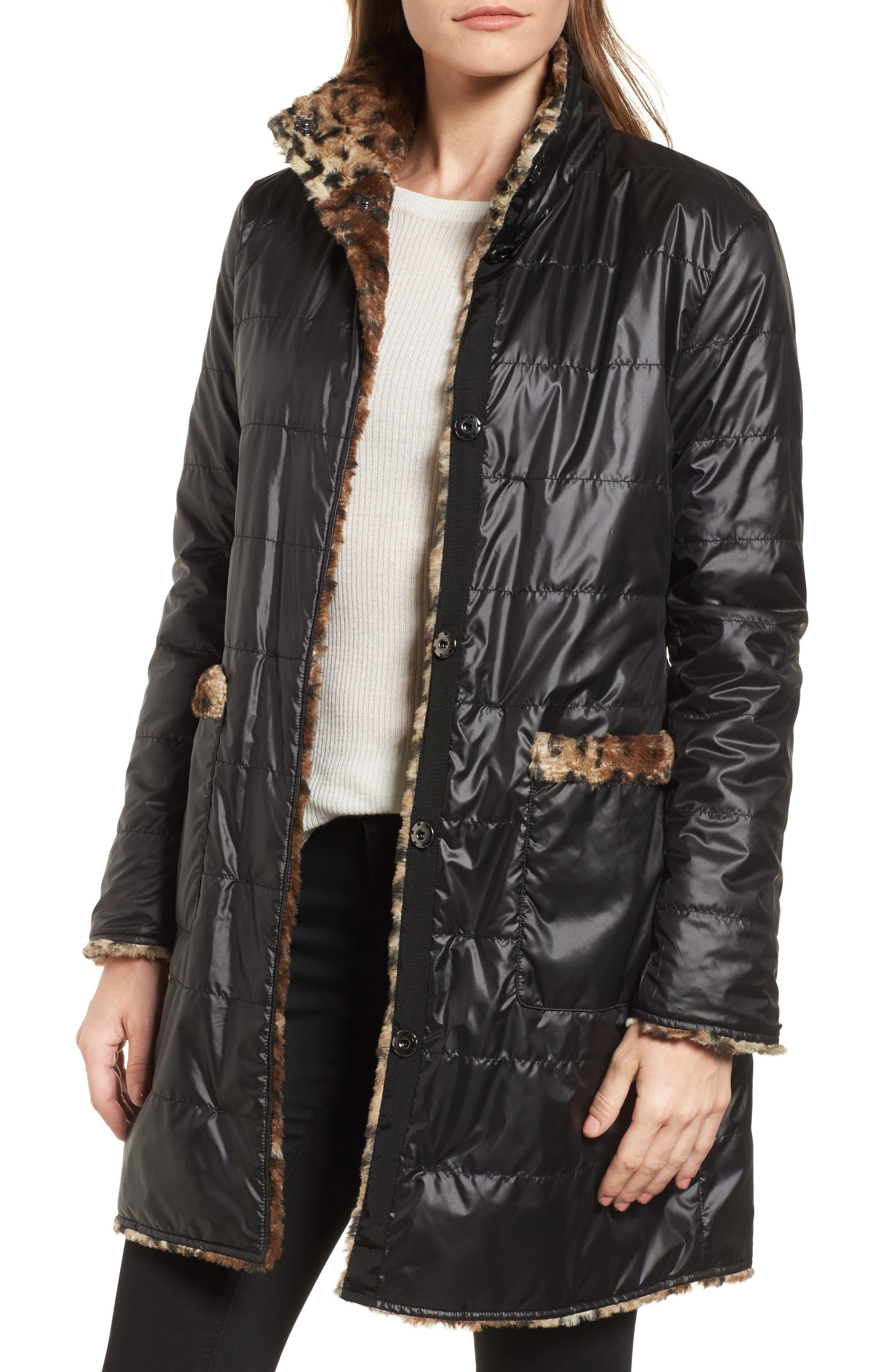 Reversible Faux Leopard Fur Coat,                             Alternate thumbnail 9, color,