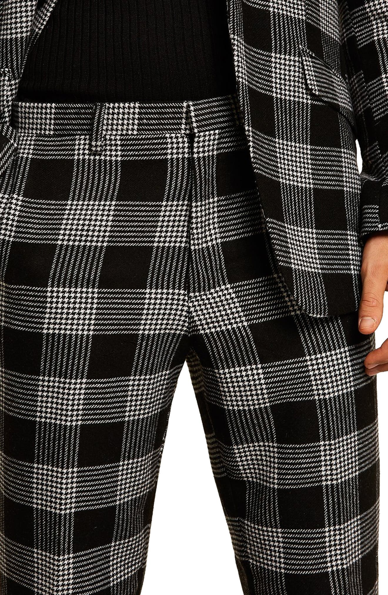 Leigh Classic Check Slim Fit Trousers,                             Alternate thumbnail 3, color,                             BLACK MULTI