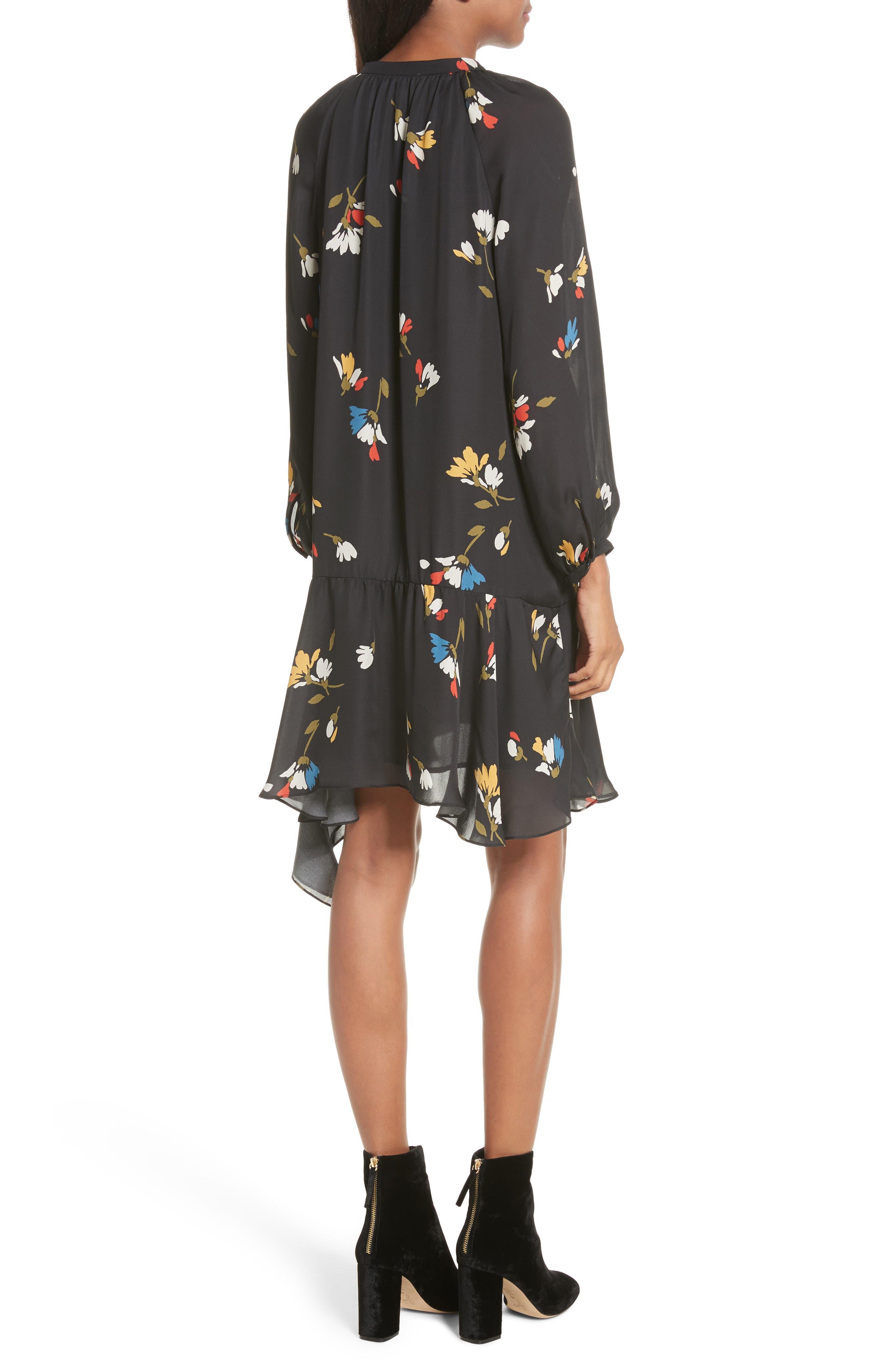 Agrafena Ruffle Hem Silk Dress,                             Alternate thumbnail 2, color,                             002