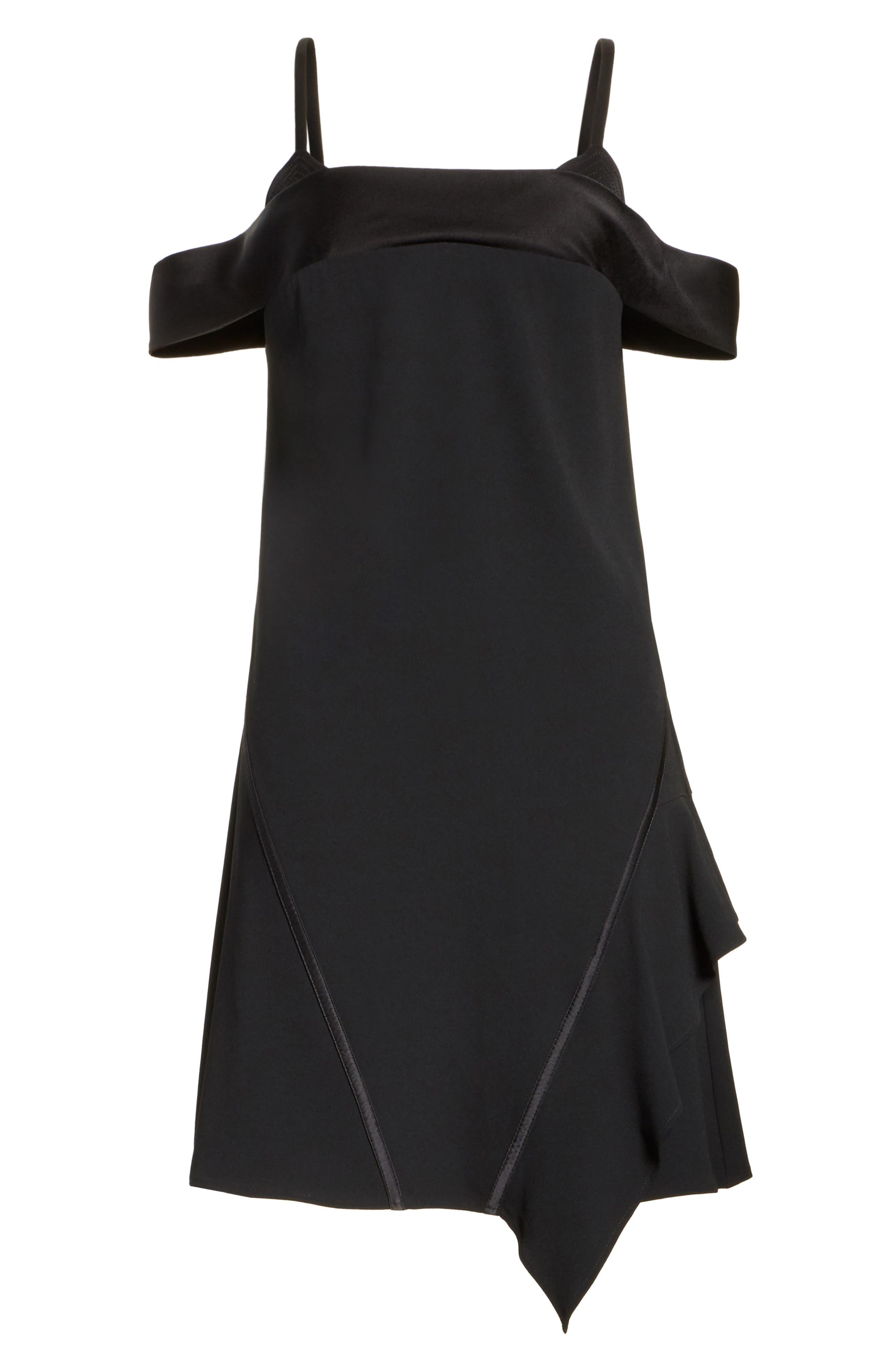 Satin Back Crepe Off the Shoulder Dress,                             Alternate thumbnail 6, color,                             002