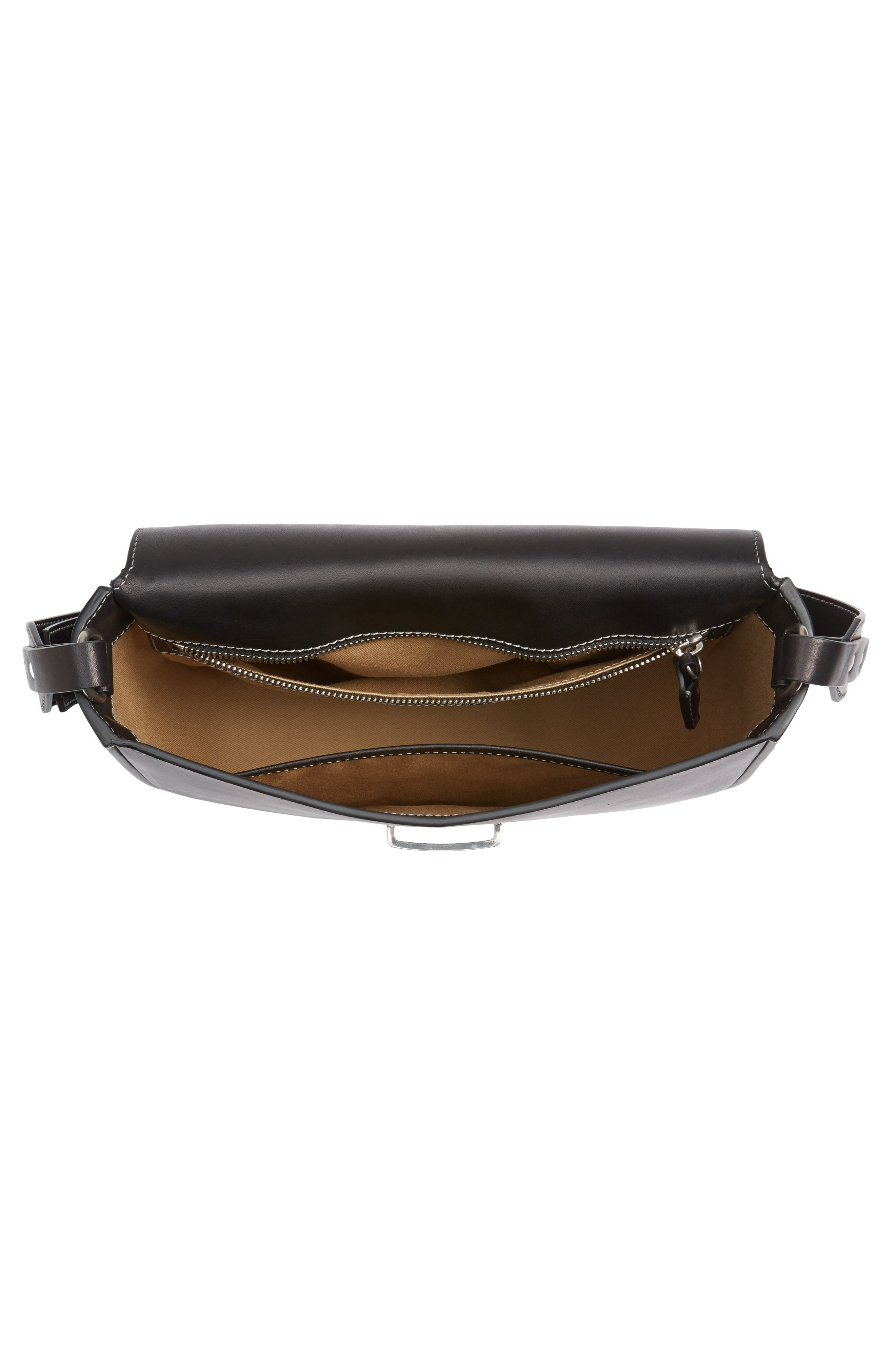Marlow II Leather Shoulder Bag,                             Alternate thumbnail 4, color,                             001