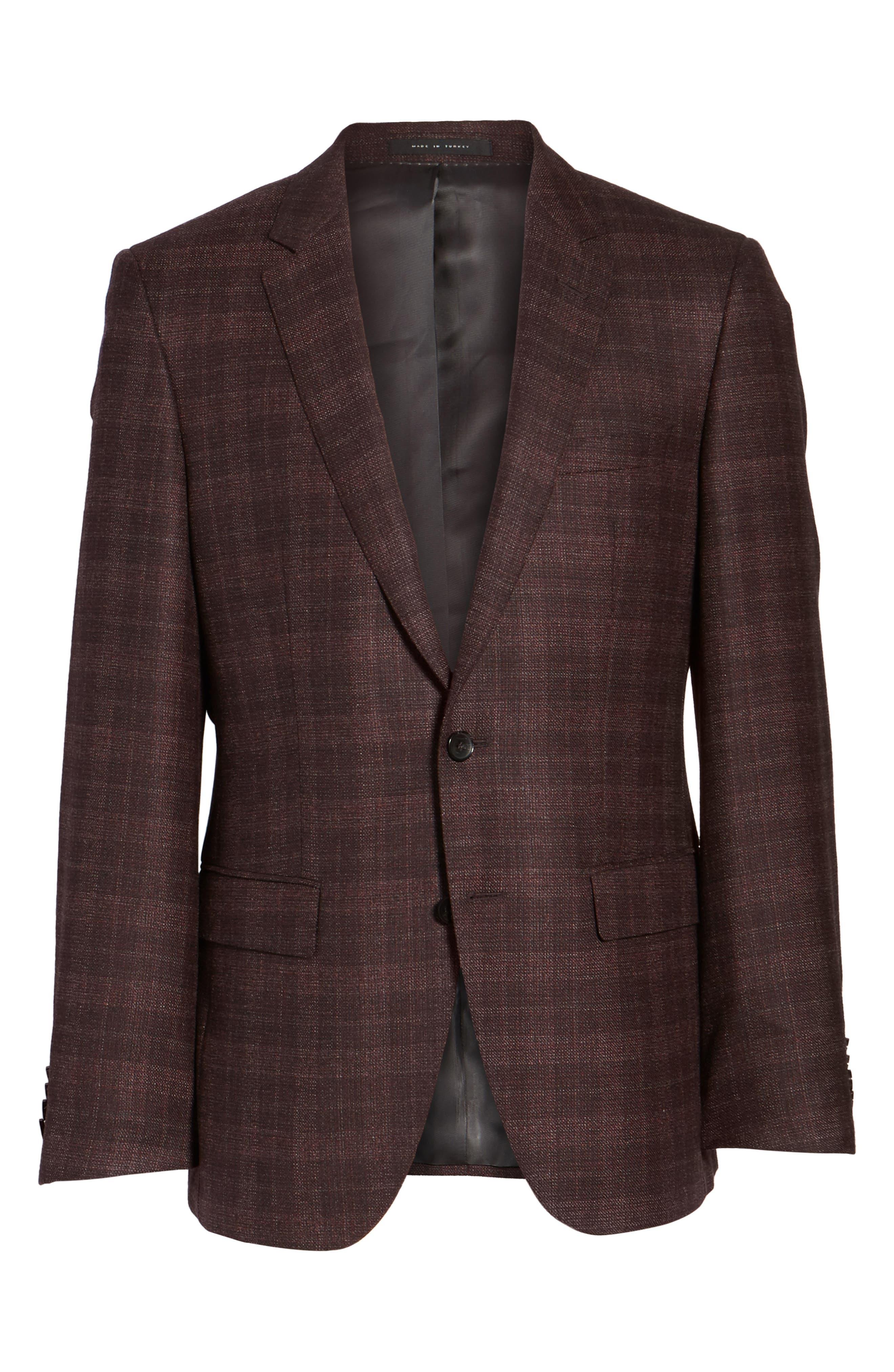 T-Heel Trim Fit Plaid Wool & Silk Sport Coat,                             Alternate thumbnail 5, color,                             606