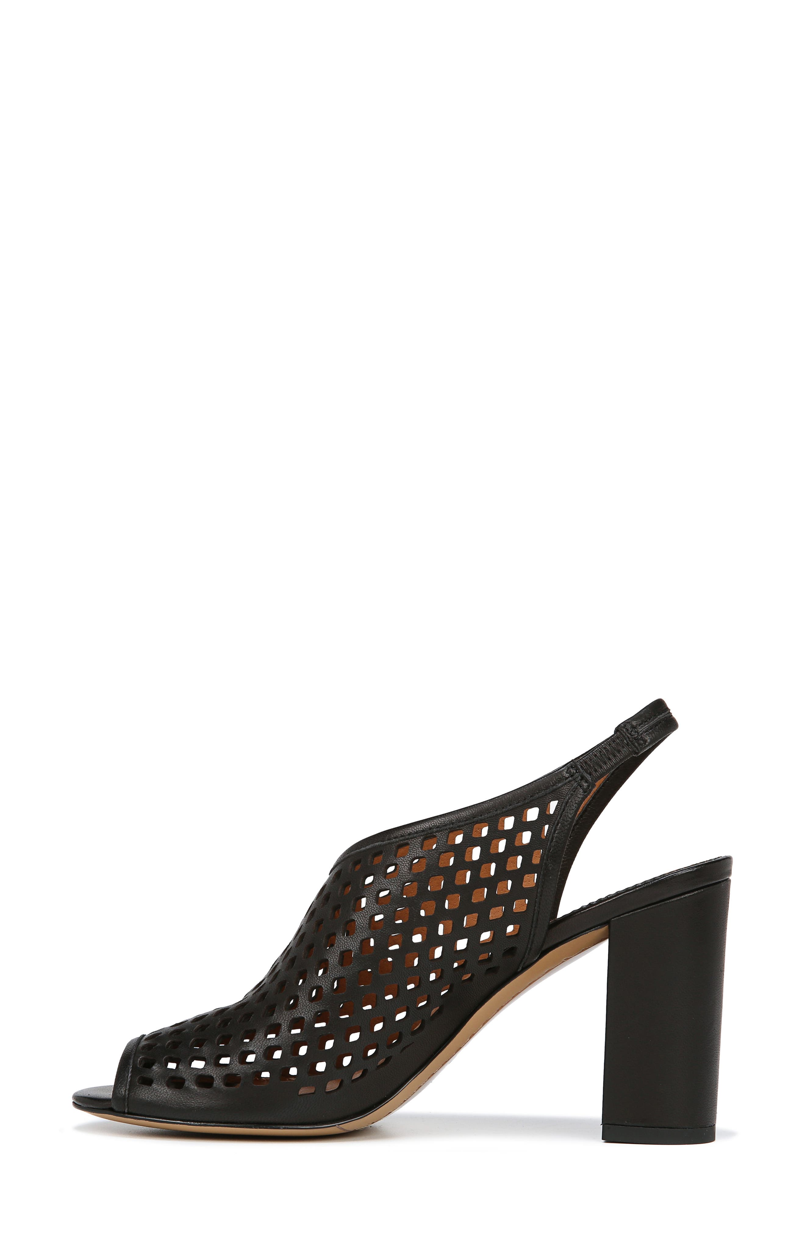 Osbourne Perforated Slingback Sandal,                             Alternate thumbnail 9, color,                             BLACK LEATHER