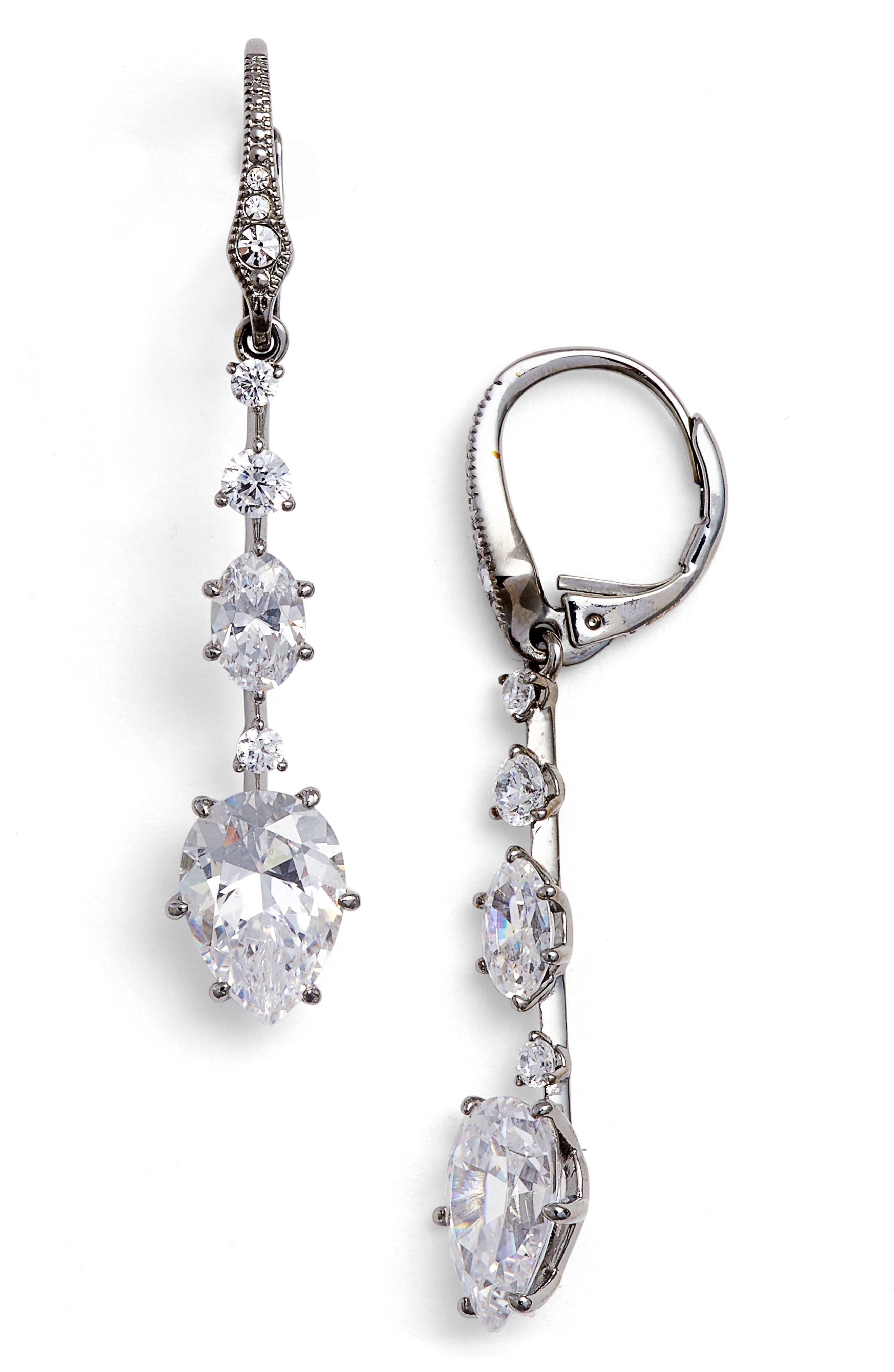 Royale Cubic Zirconia Drop Earrings,                         Main,                         color, 001