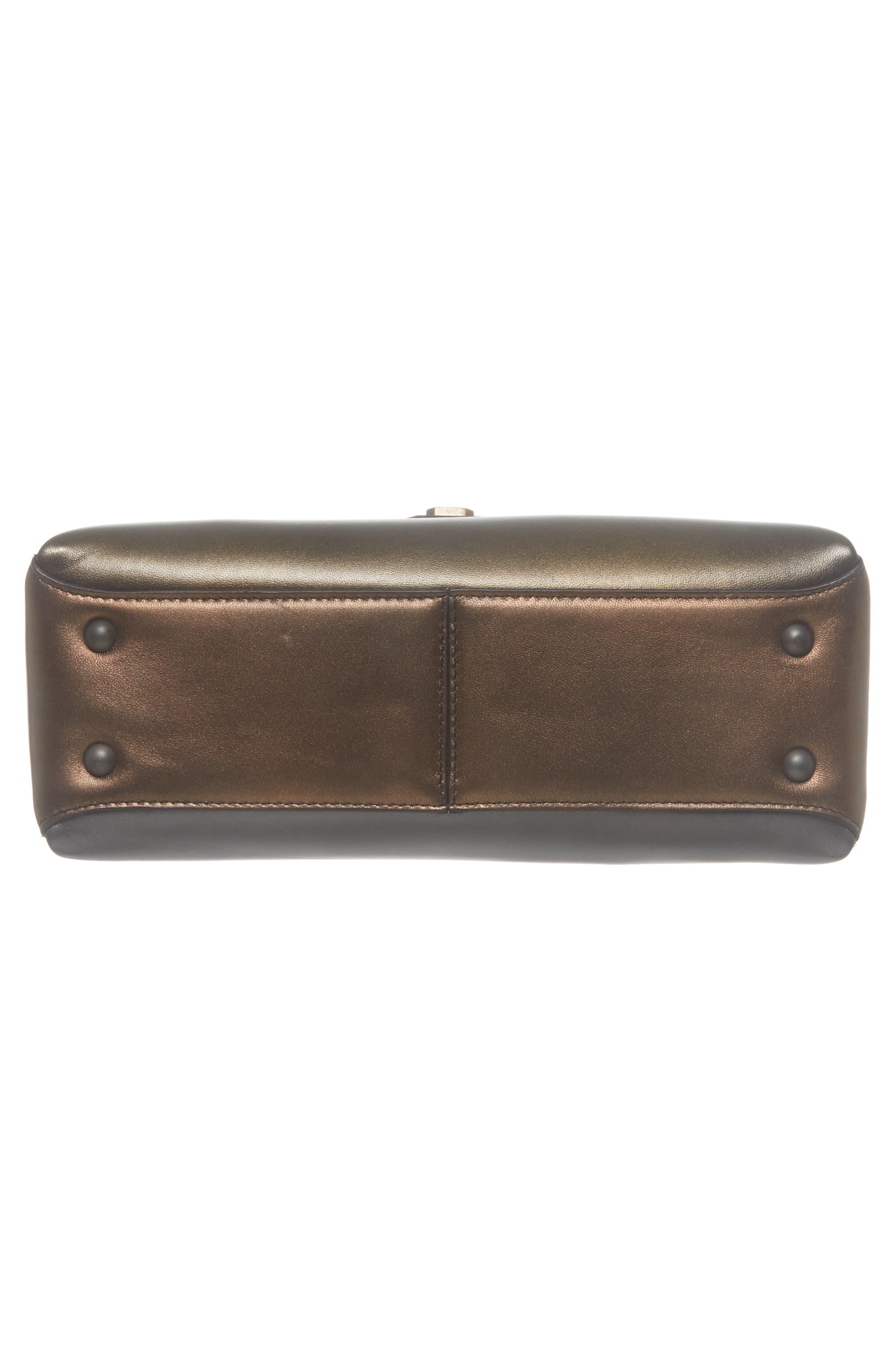 Small Piazza Tricolor Metallic Leather Handbag,                             Alternate thumbnail 6, color,                             DARK GOLD MULTI