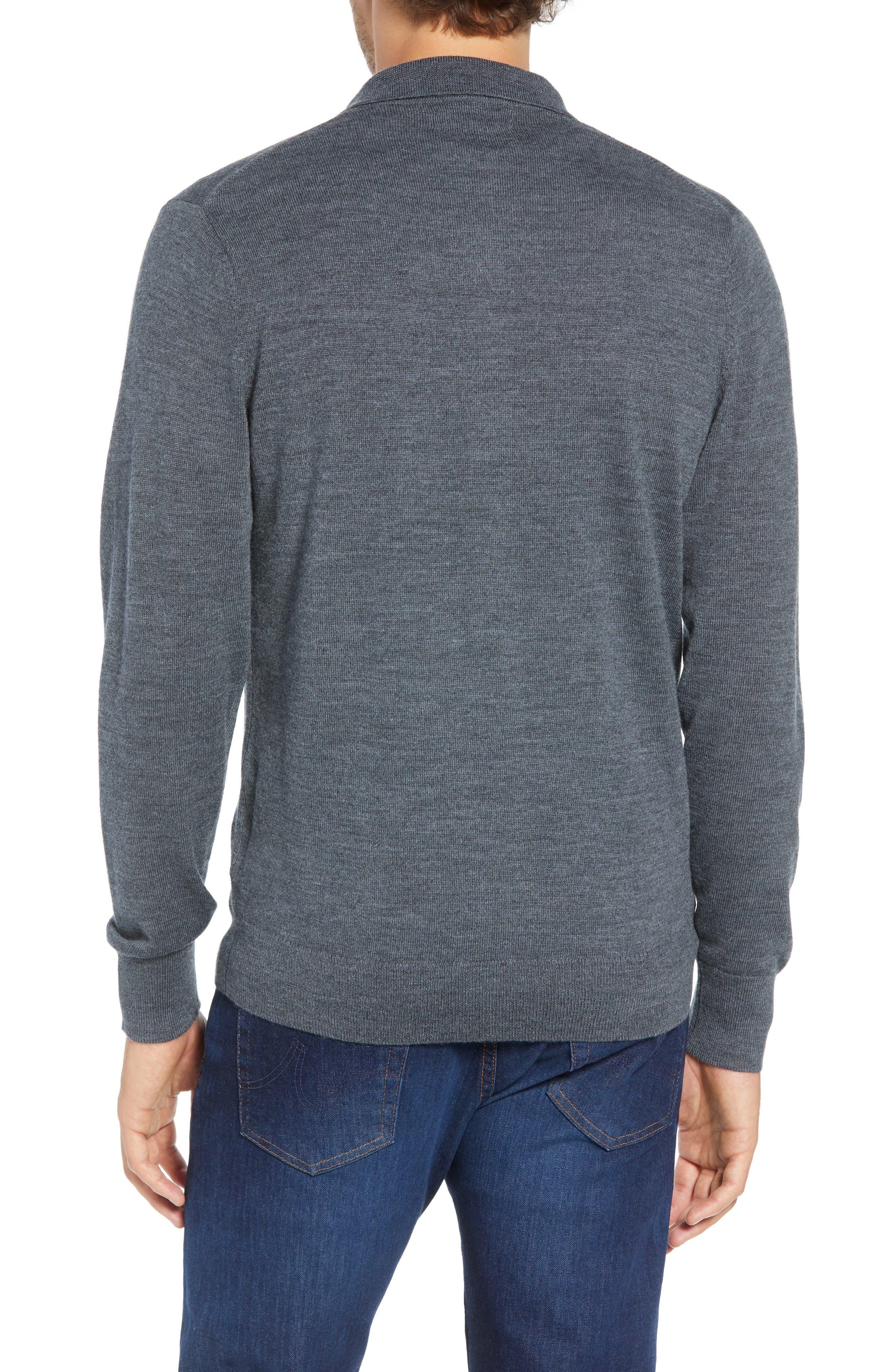 Slim Fit Long Sleeve Merino Wool Polo,                             Alternate thumbnail 2, color,                             HEATHER SLATE