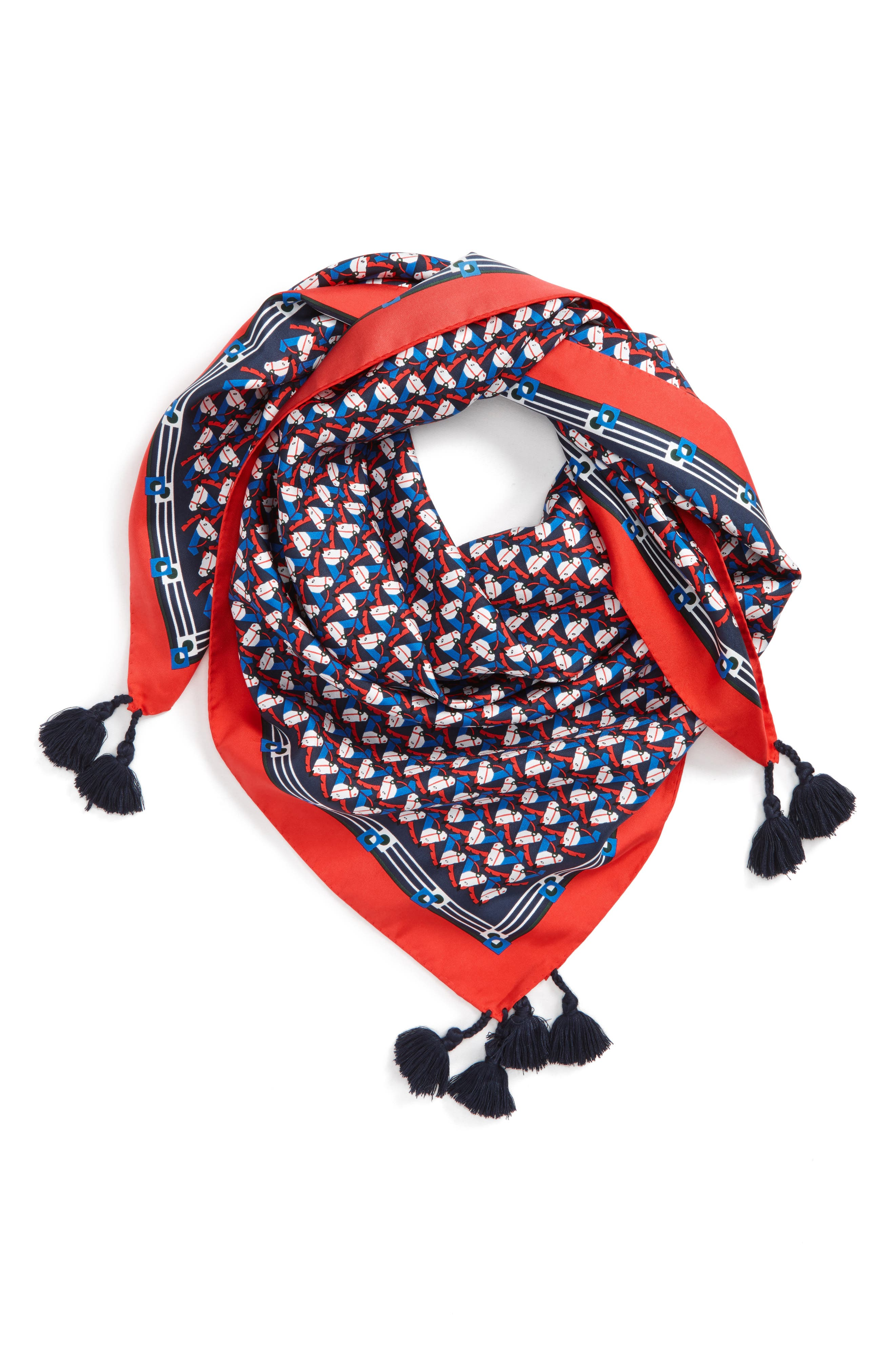 Stallion Silk Square Scarf with Tassels,                         Main,                         color,