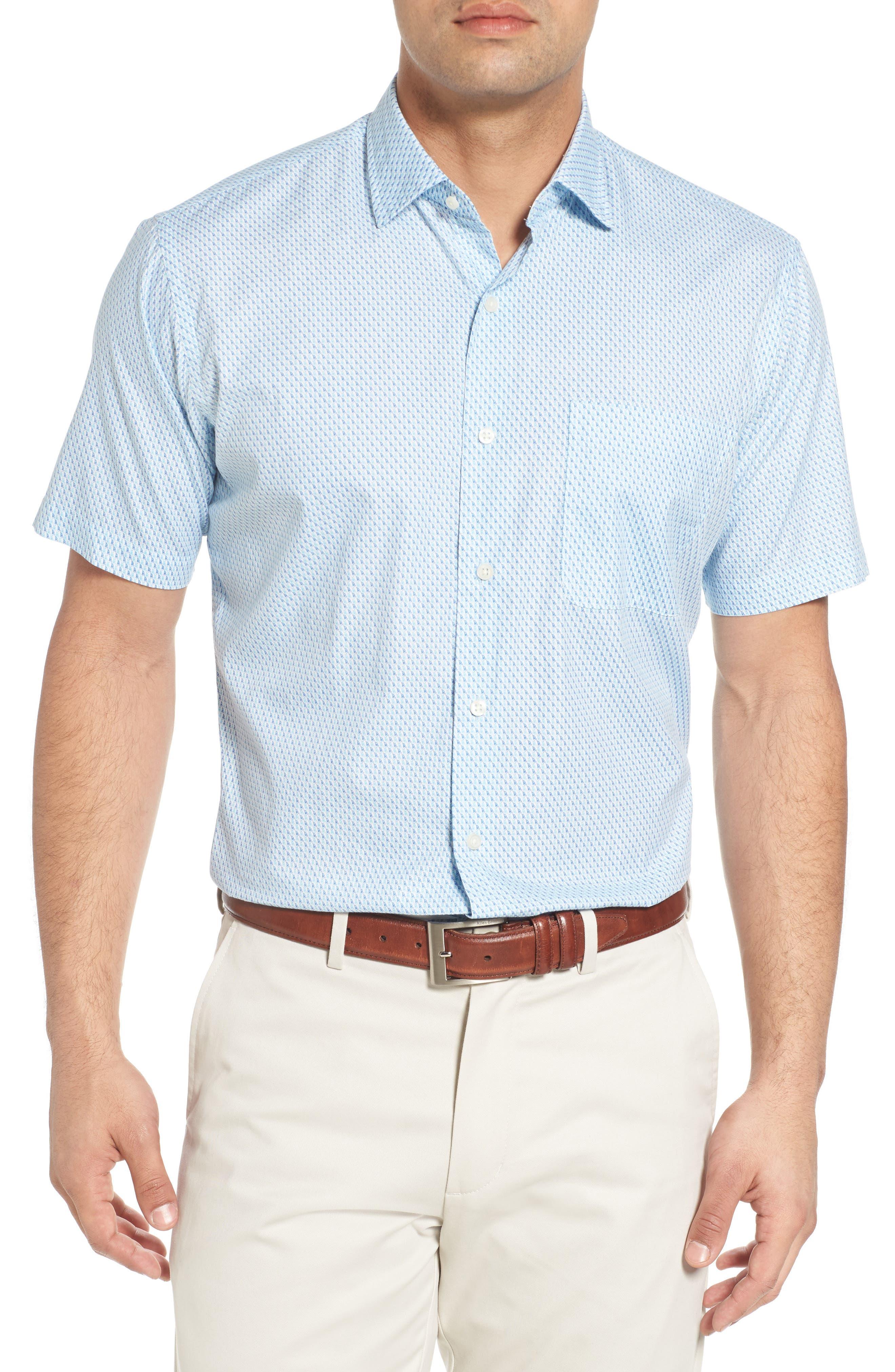 Sail Away Regular Fit Cotton & Silk Sport Shirt,                         Main,                         color, 407