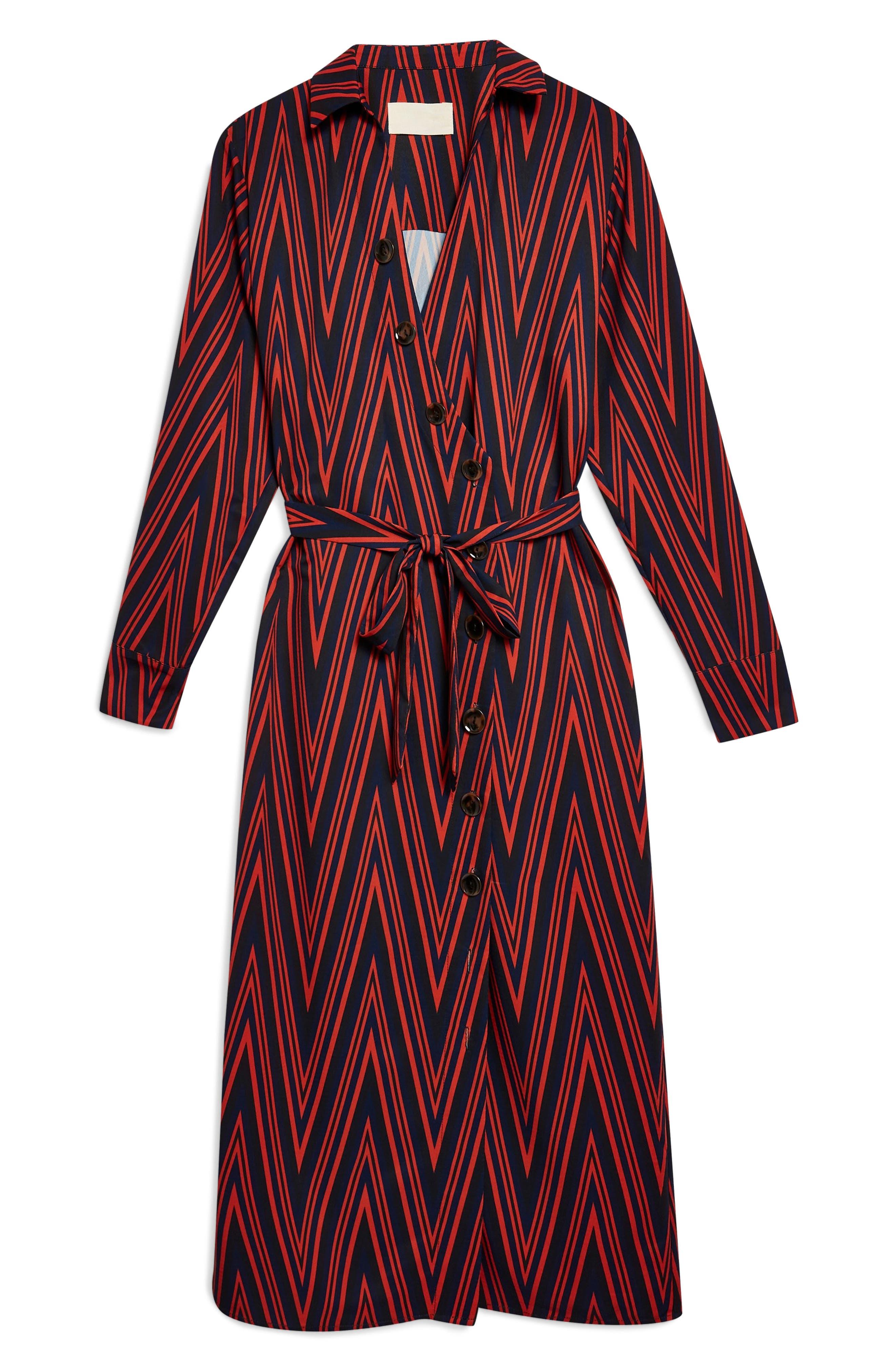 TOPSHOP,                             Horn Button Print Midi Dress,                             Alternate thumbnail 6, color,                             220