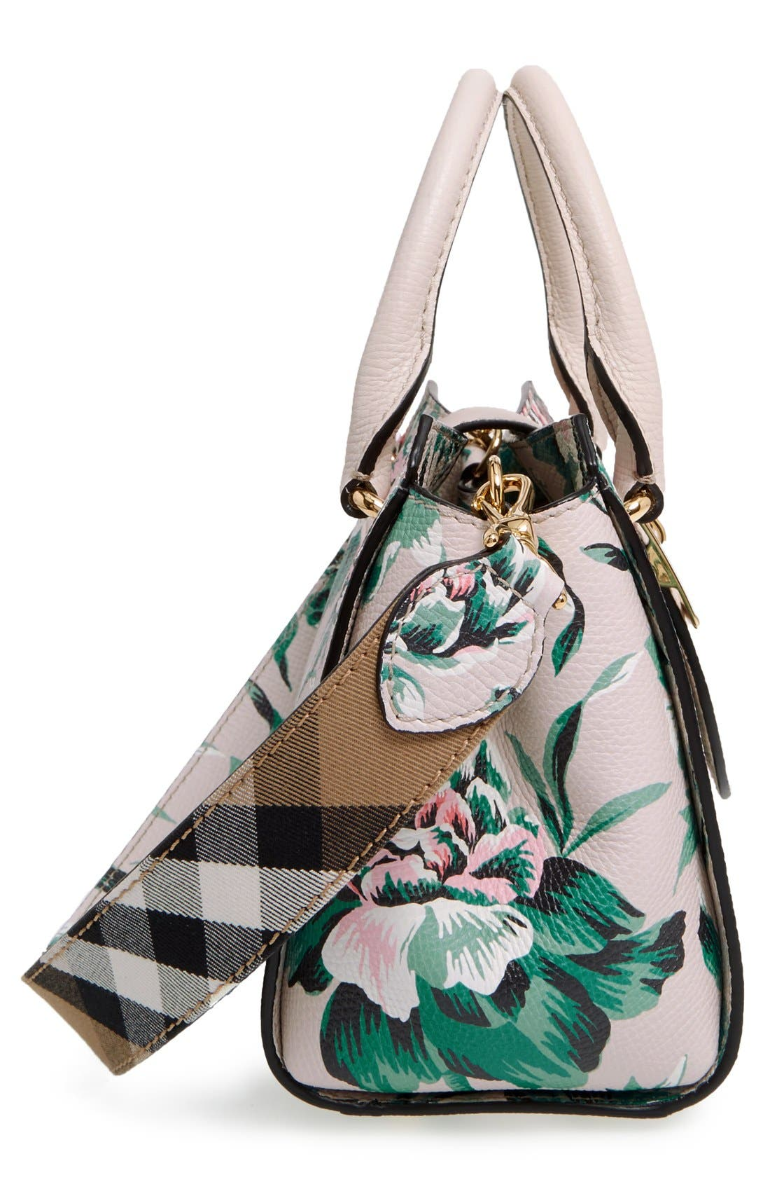 Small Buckle Floral Calfskin Leather Satchel,                             Alternate thumbnail 4, color,                             321