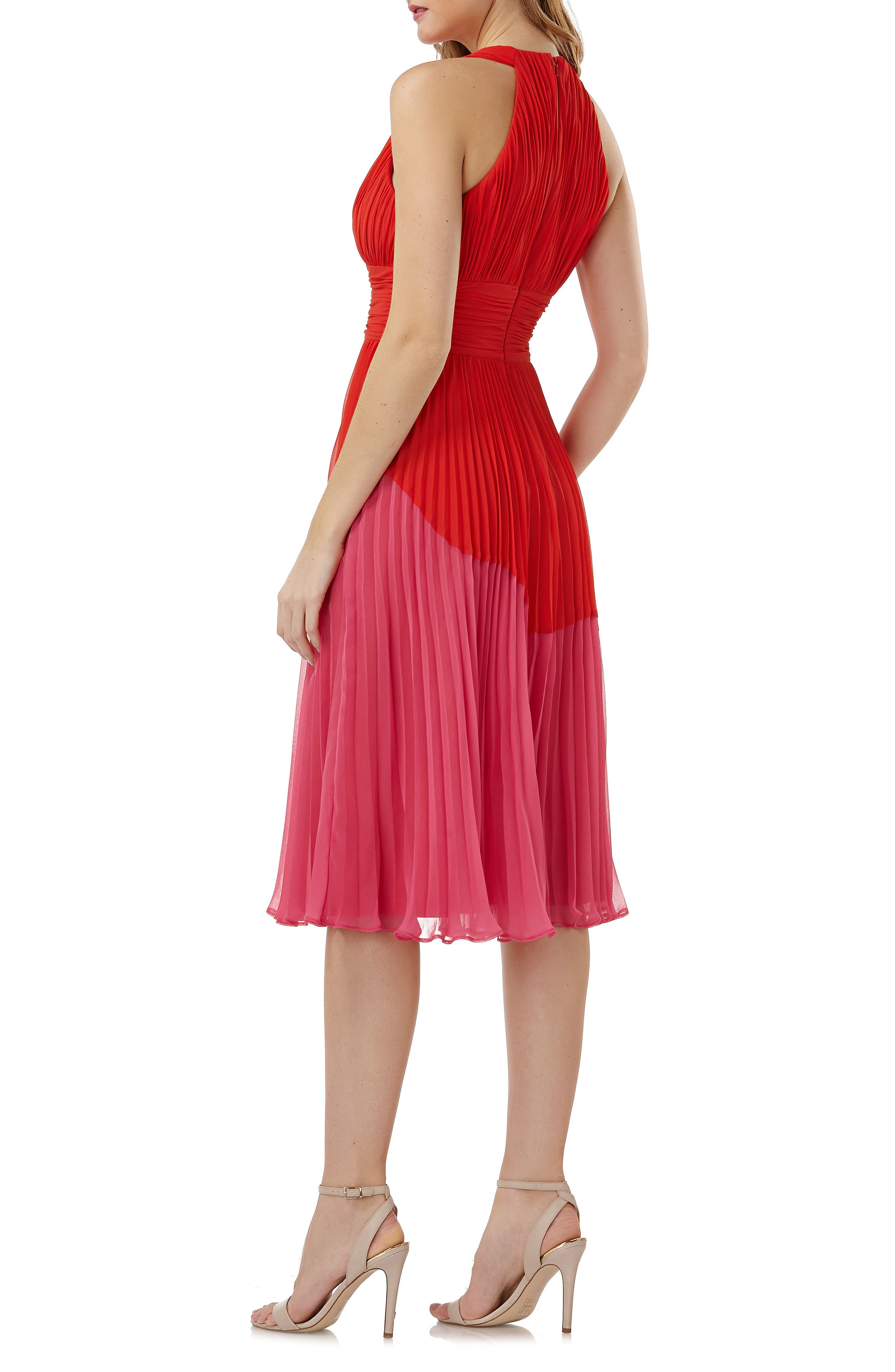 Colorblock Pleated Dress,                             Alternate thumbnail 2, color,                             605