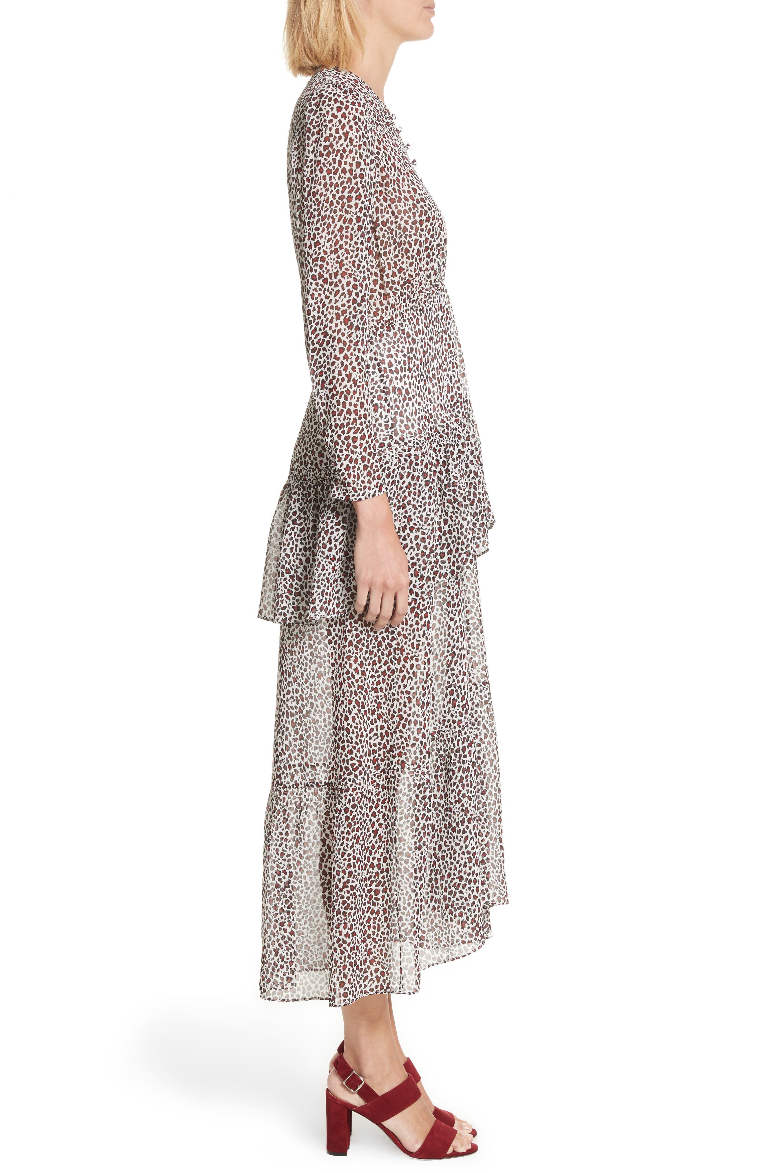 Zandra Leopard Print Silk Midi Dress,                             Alternate thumbnail 3, color,                             901
