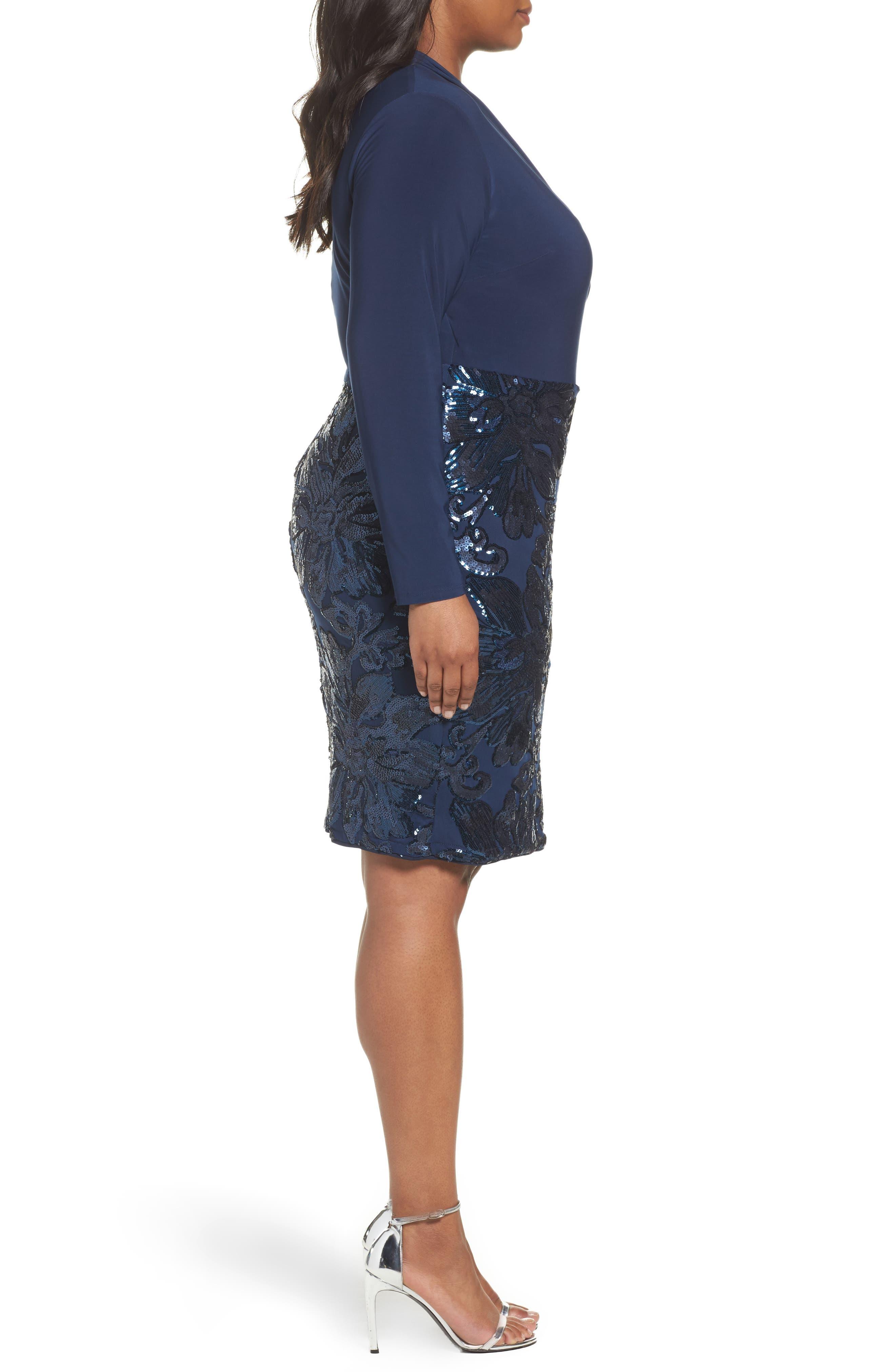 Sequin Faux Wrap Sheath Dress,                             Alternate thumbnail 3, color,                             410