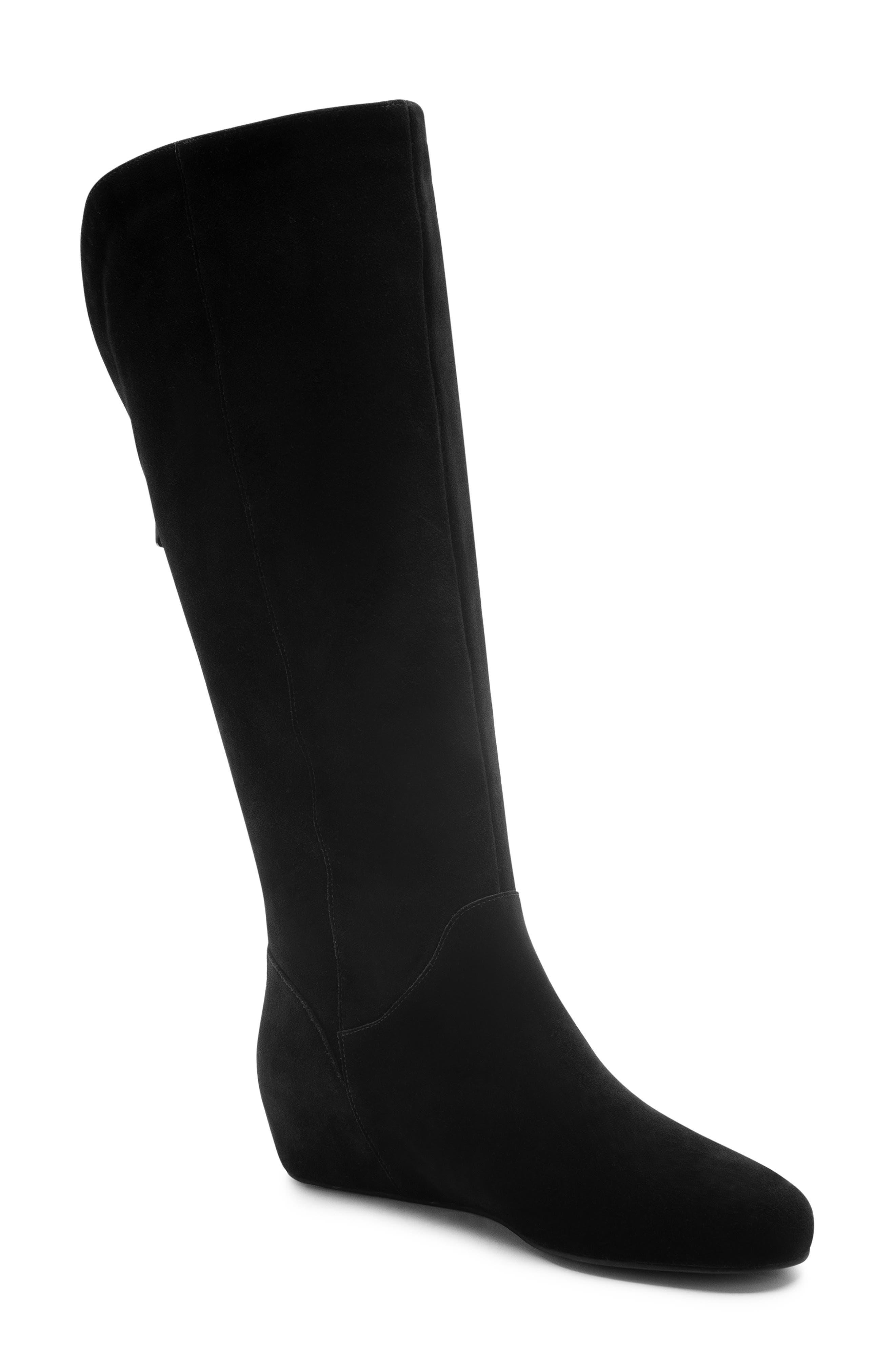 Mercy Waterproof Wedge Knee High Boot,                             Main thumbnail 1, color,                             BLACK SUEDE