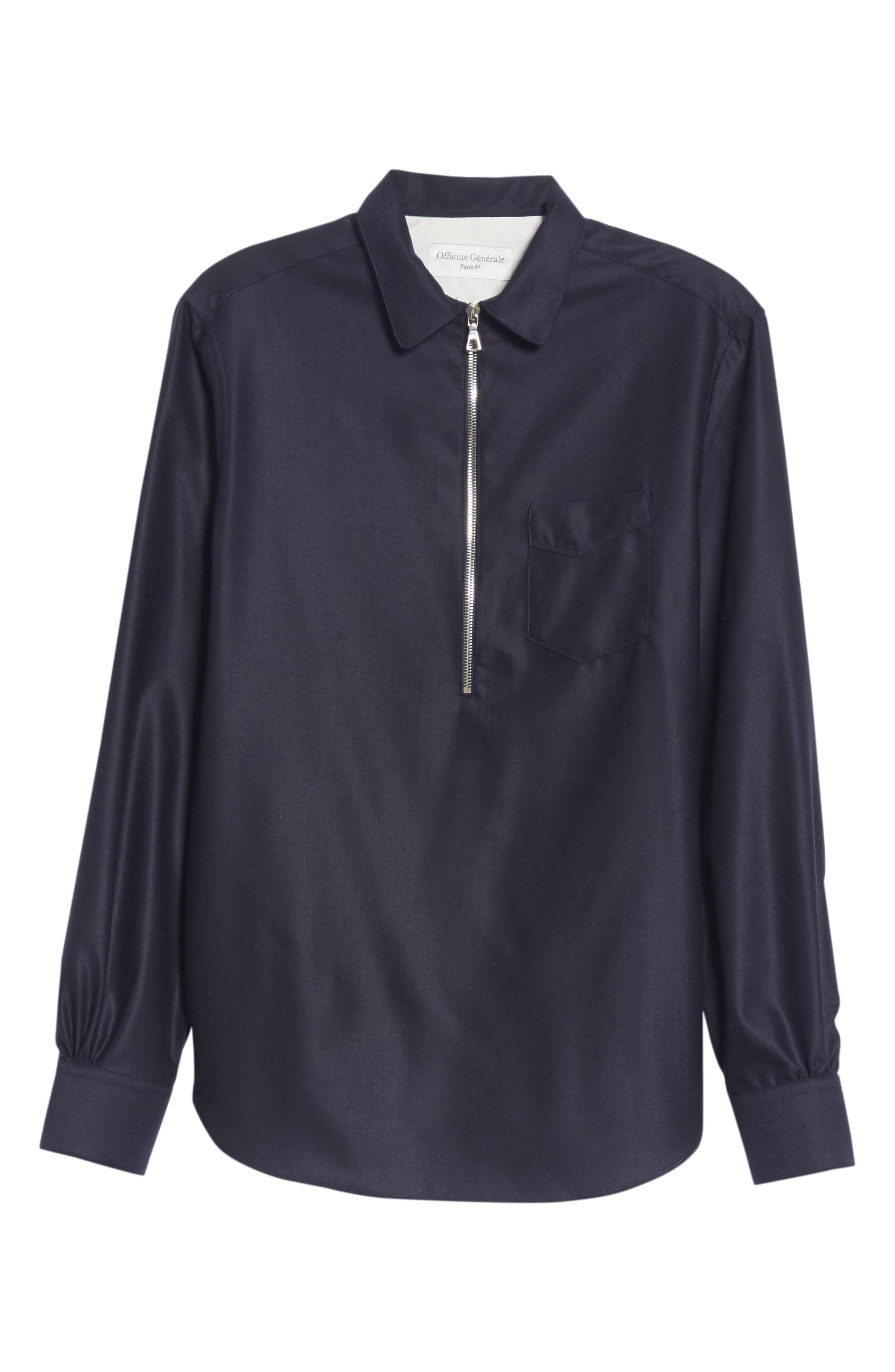 Officine Générale Woven Pullover Shirt,                             Alternate thumbnail 6, color,                             NAVY