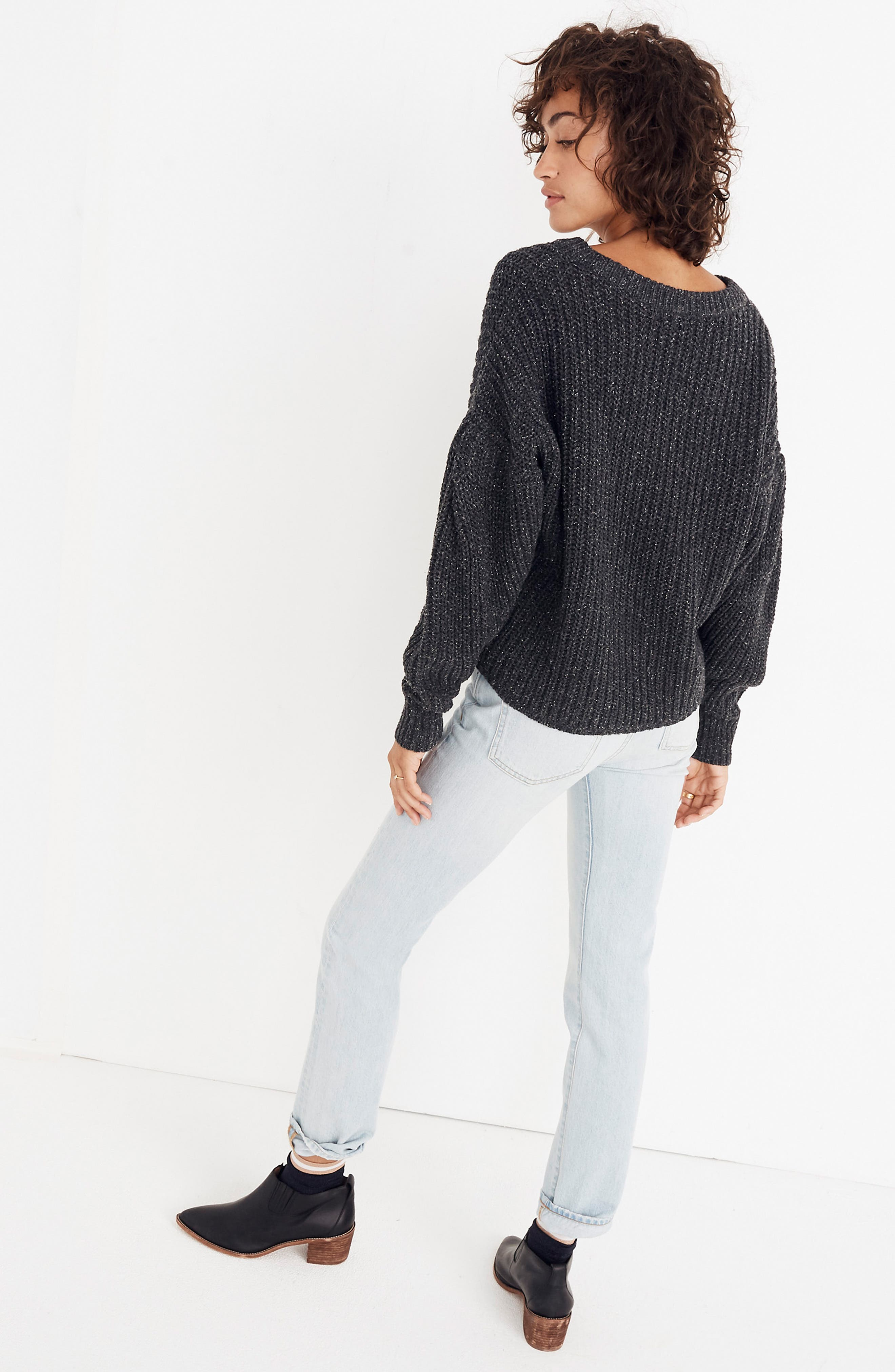 Pleat Sleeve Pullover Sweater,                             Alternate thumbnail 8, color,                             021