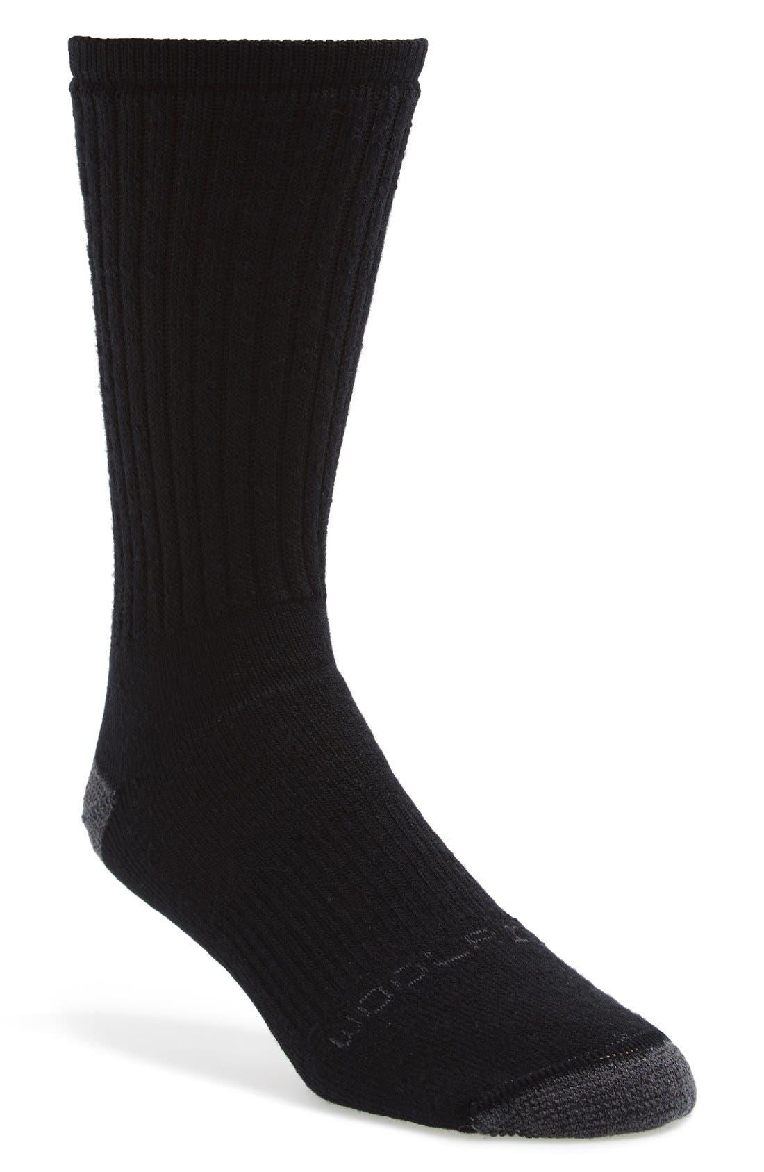 'Ten Mile Hiker' Merino Wool Blend Crew Socks, Main, color, 001