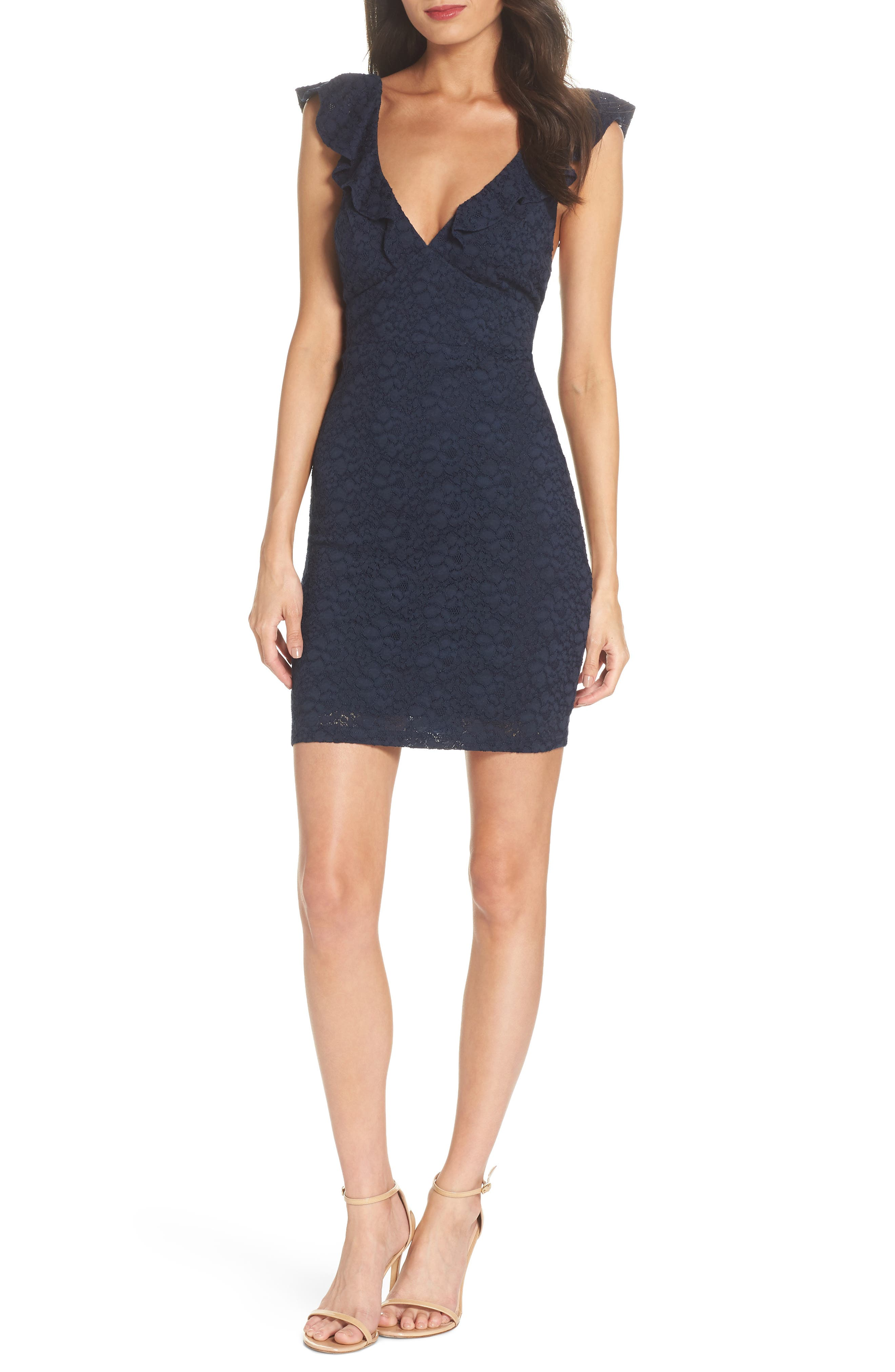 Ruffle Neck Lace Minidress,                         Main,                         color, NAVY