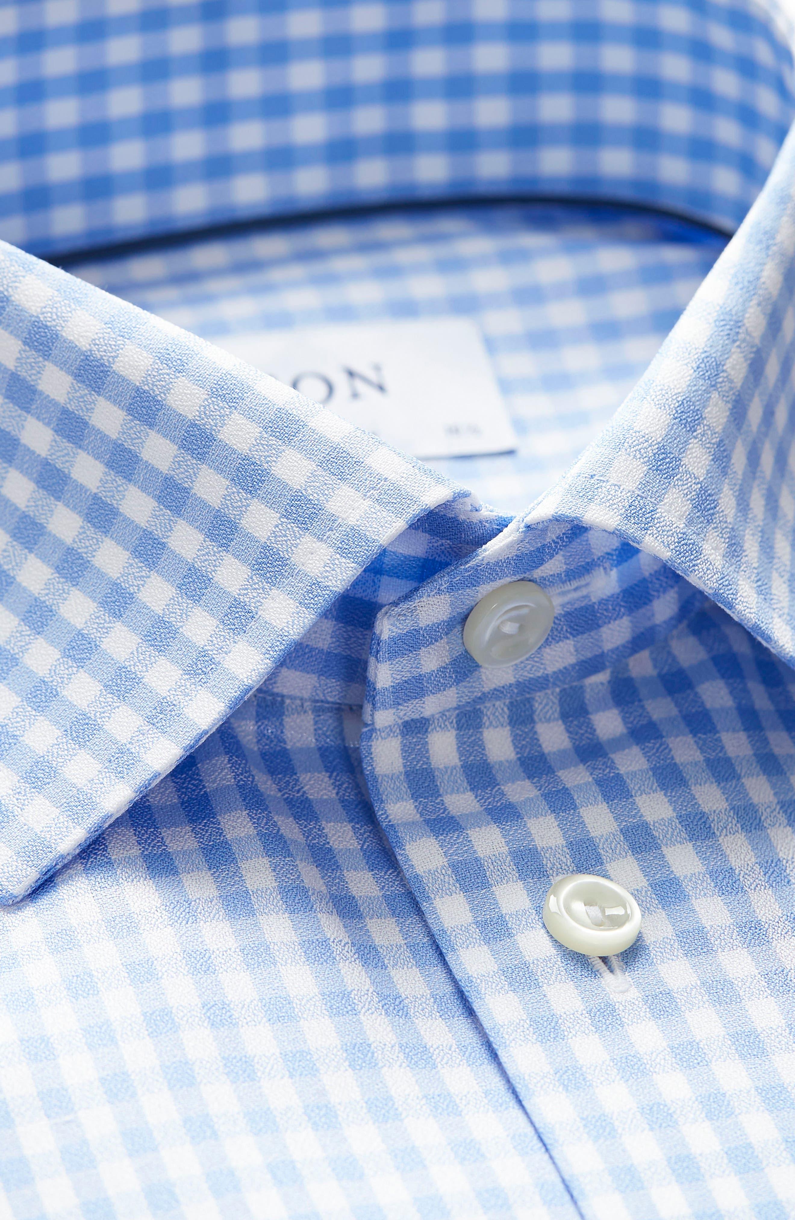 Contemporary Fit Check Dress Shirt,                             Alternate thumbnail 7, color,                             BLUE