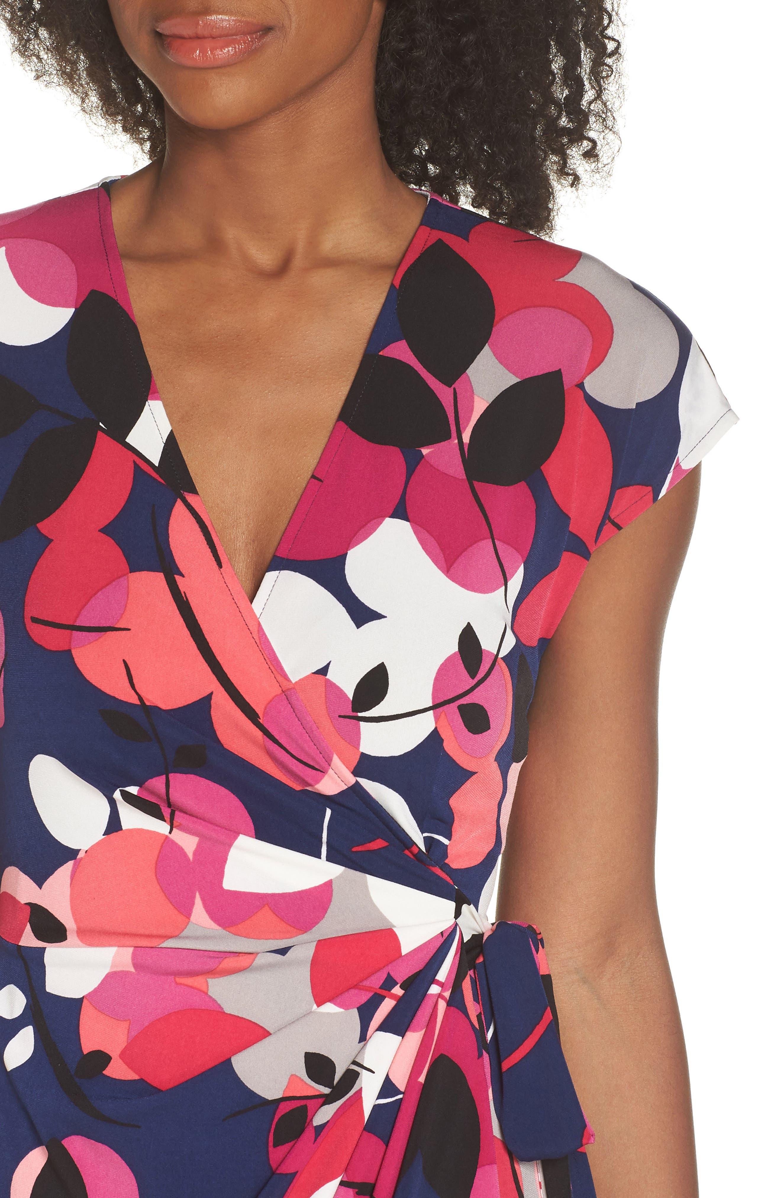 Berry Floral Wrap Dress,                             Alternate thumbnail 4, color,                             402
