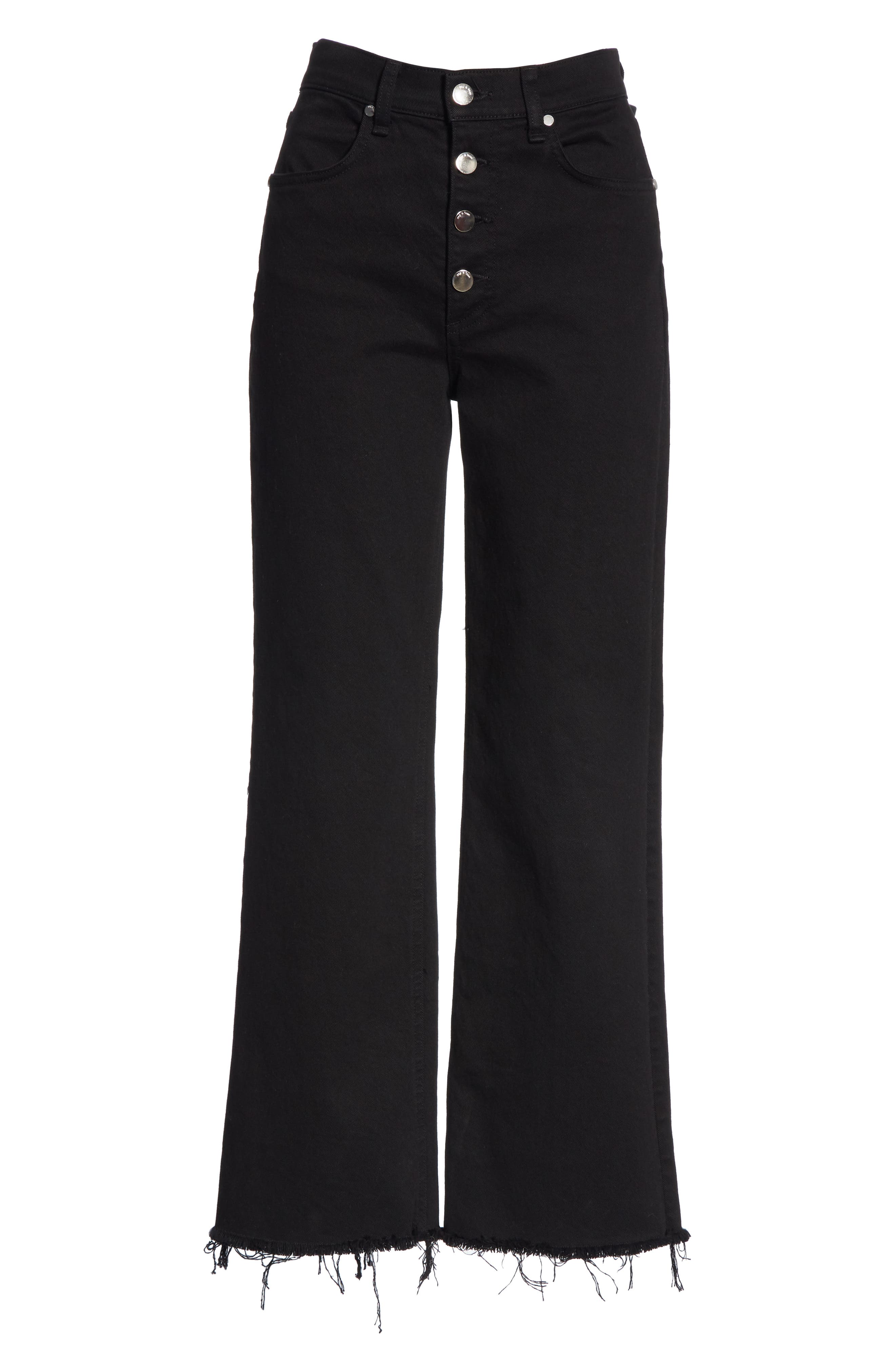 RAG & BONE,                             Justine High Waist Cutoff Wide Leg Jeans,                             Alternate thumbnail 7, color,                             BLACK