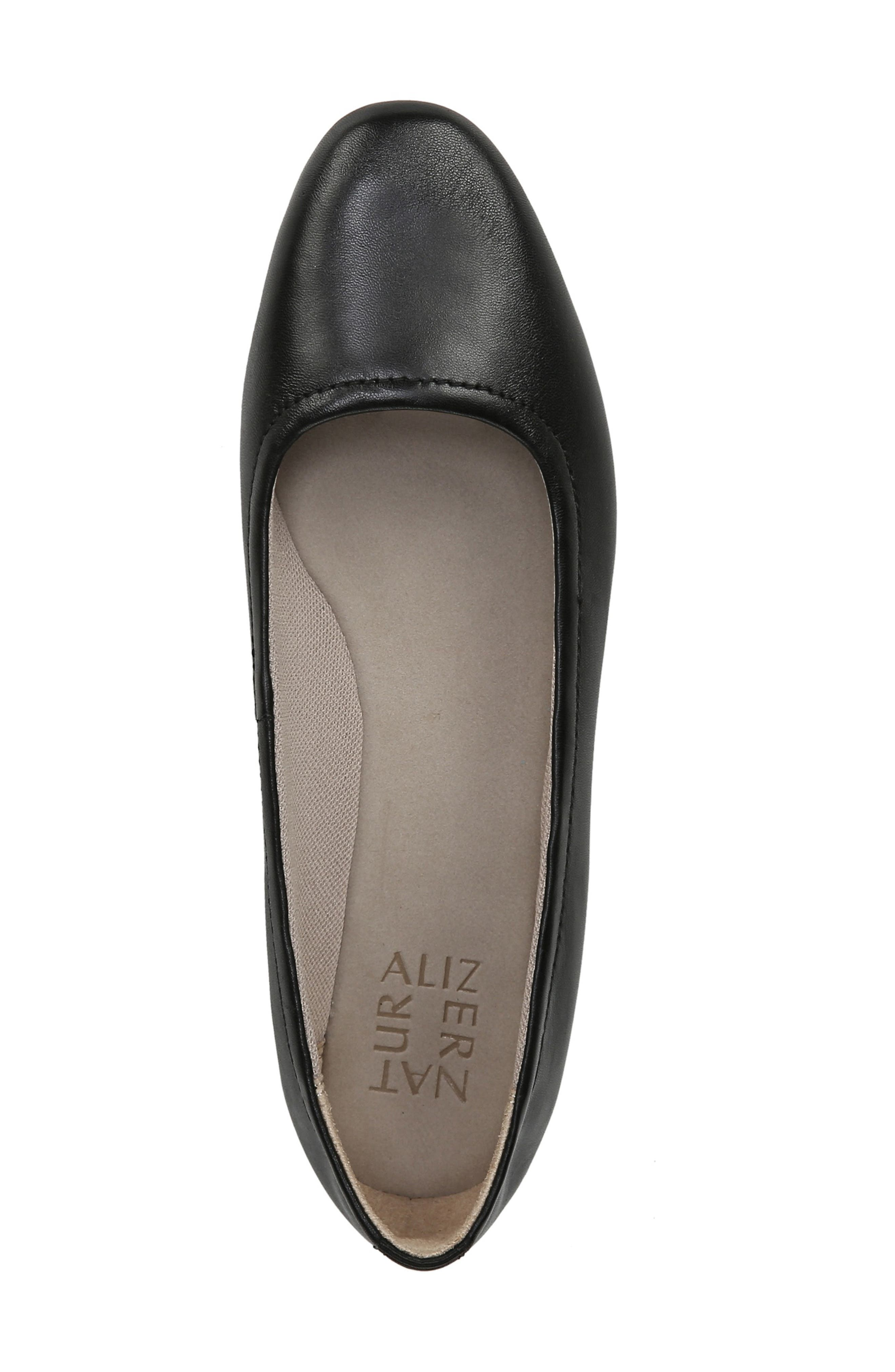 NATURALIZER,                             Alya Flat,                             Alternate thumbnail 5, color,                             BLACK LEATHER