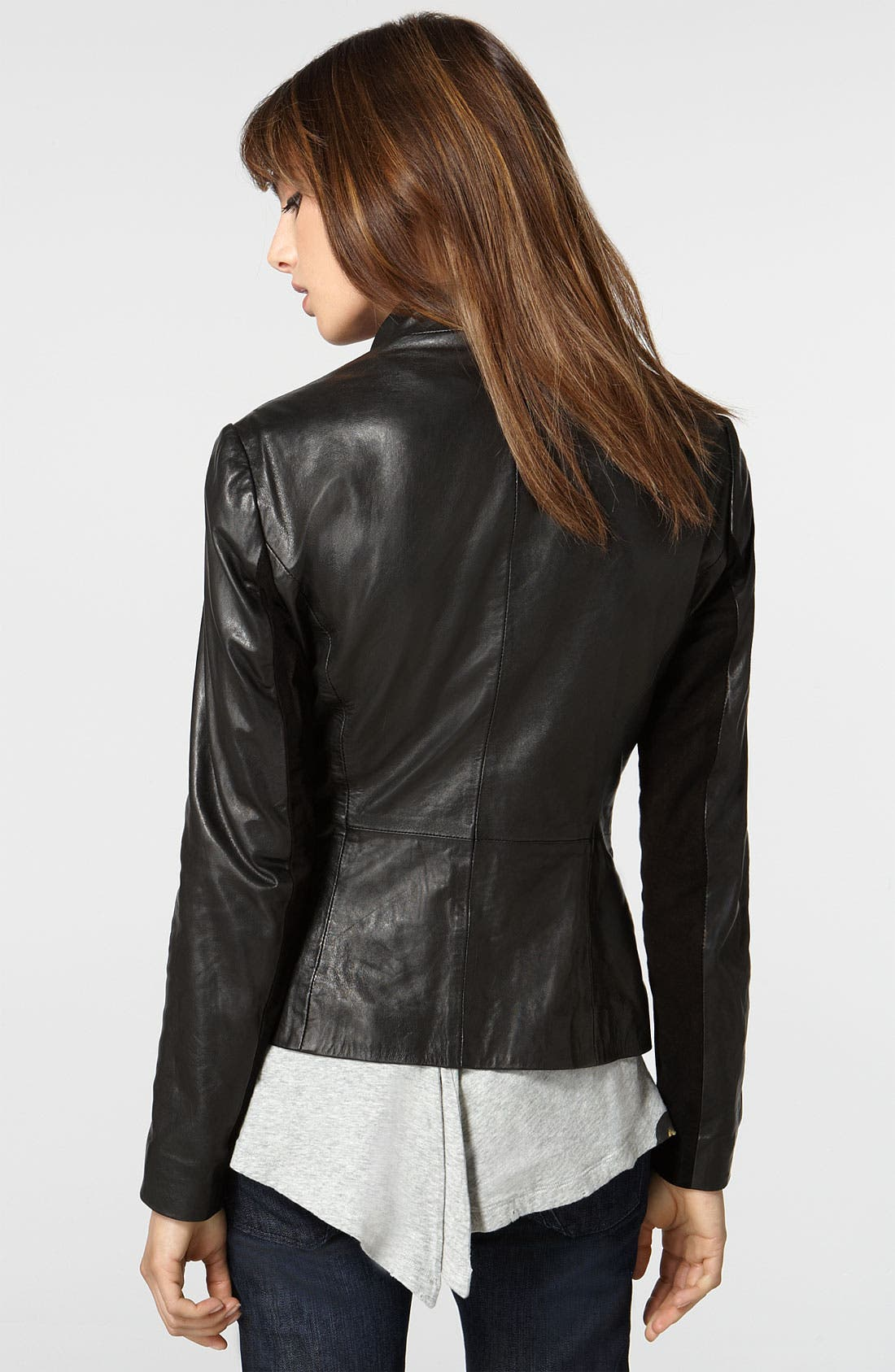 'Glammore' Drape Front Lambskin Leather Jacket,                             Alternate thumbnail 2, color,